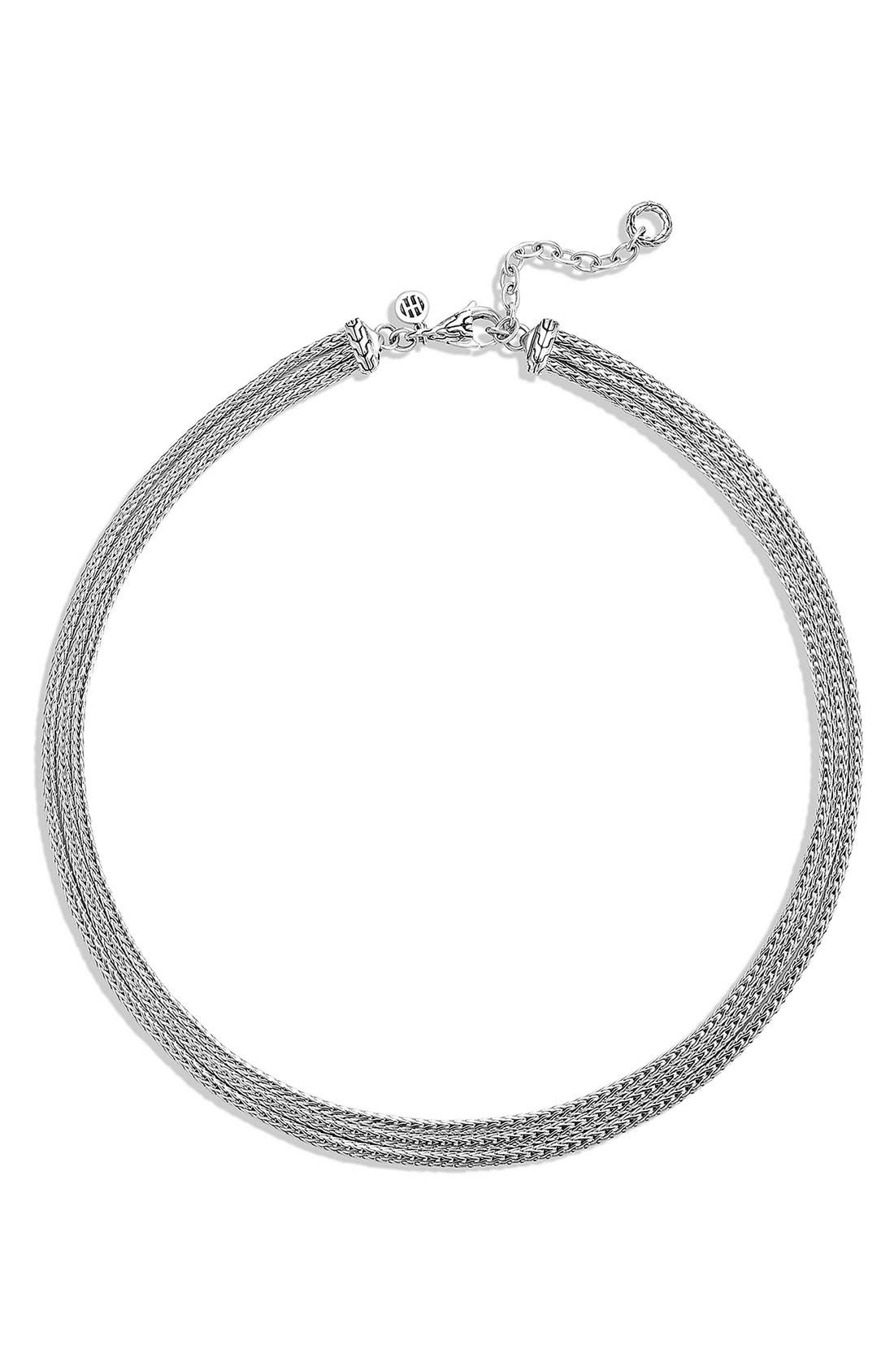 'Classic Chain' Three Row Collar Necklace,                         Main,                         color, Silver