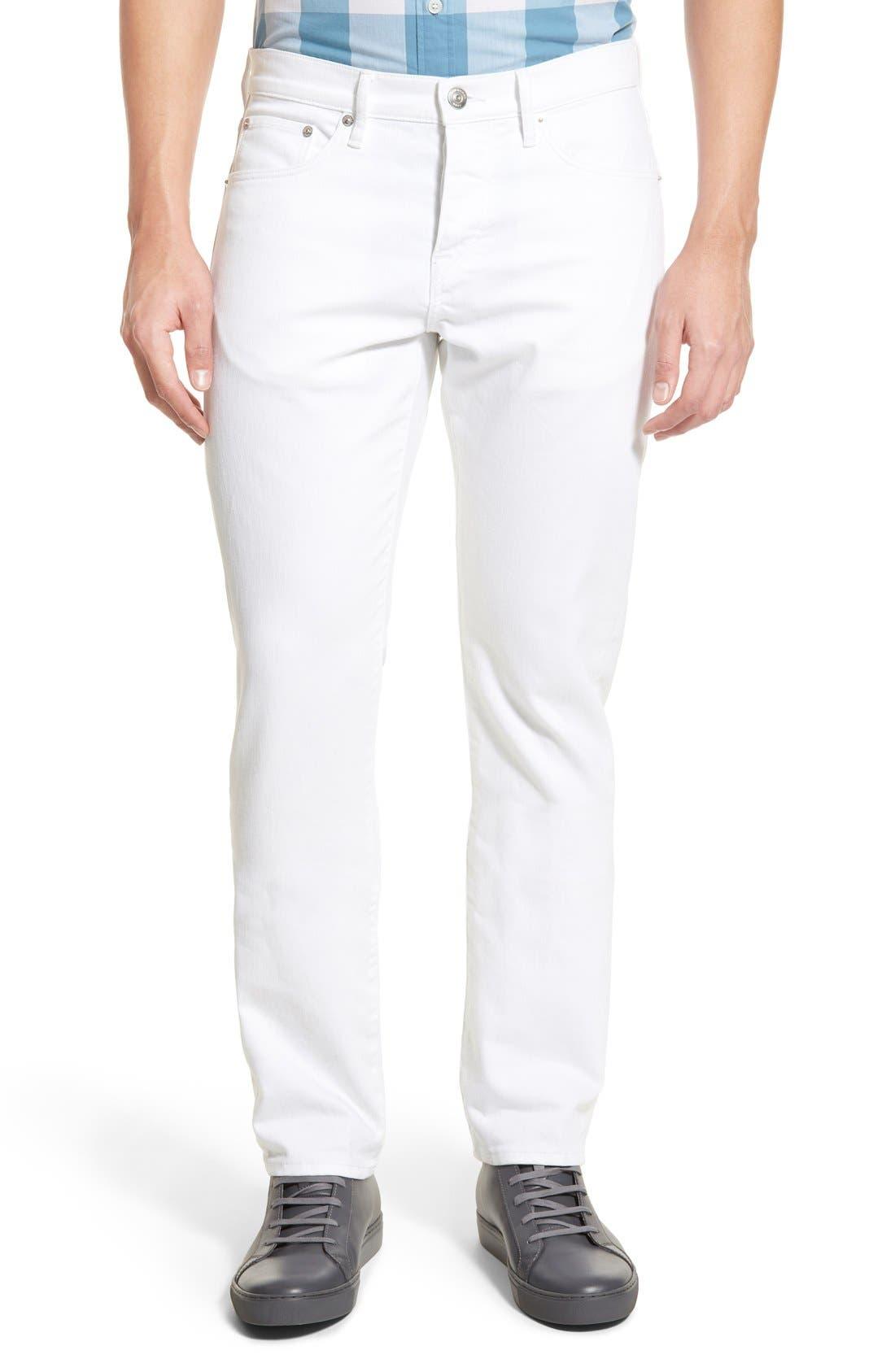 Slim Straight Leg Pants,                         Main,                         color, White