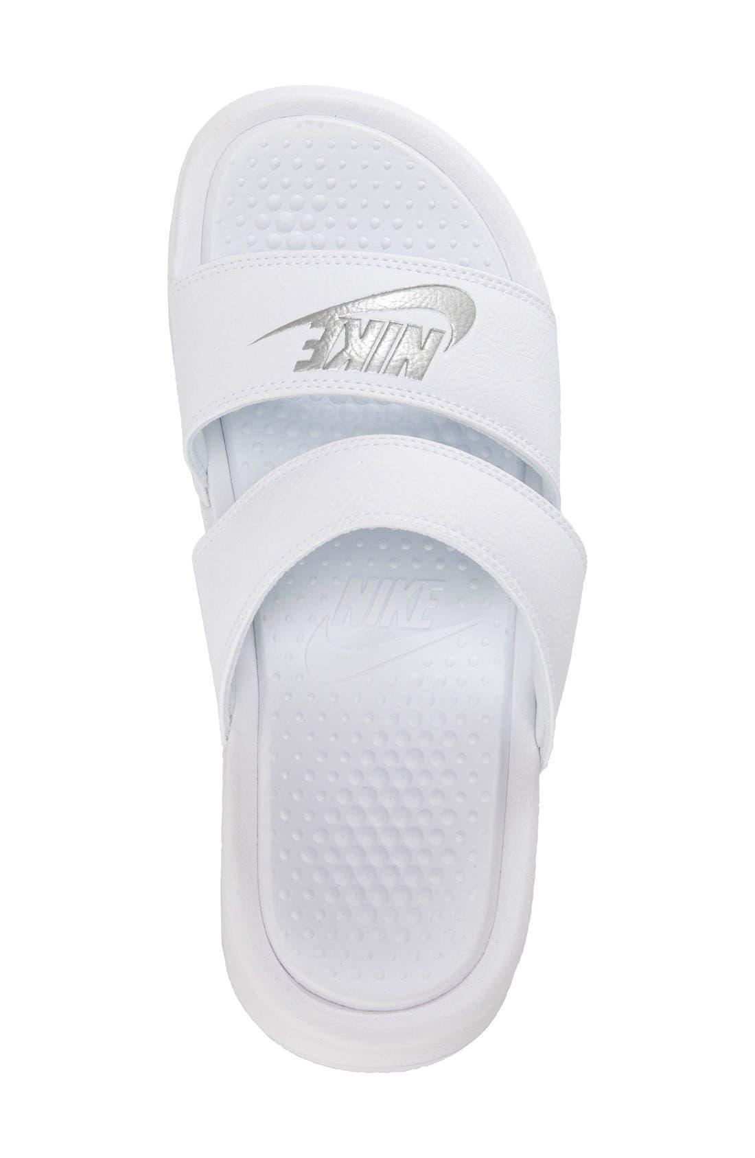 'Benassi - Ultra' Slide Sandal,                             Alternate thumbnail 3, color,                             White/ Metallic Silver
