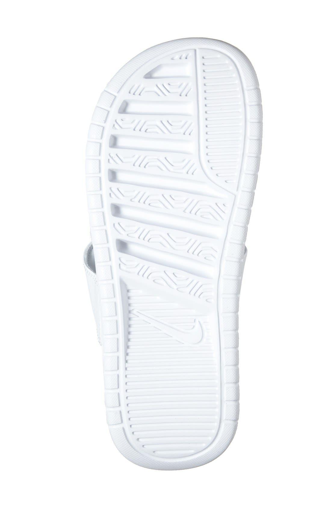 'Benassi - Ultra' Slide Sandal,                             Alternate thumbnail 4, color,                             White/ Metallic Silver