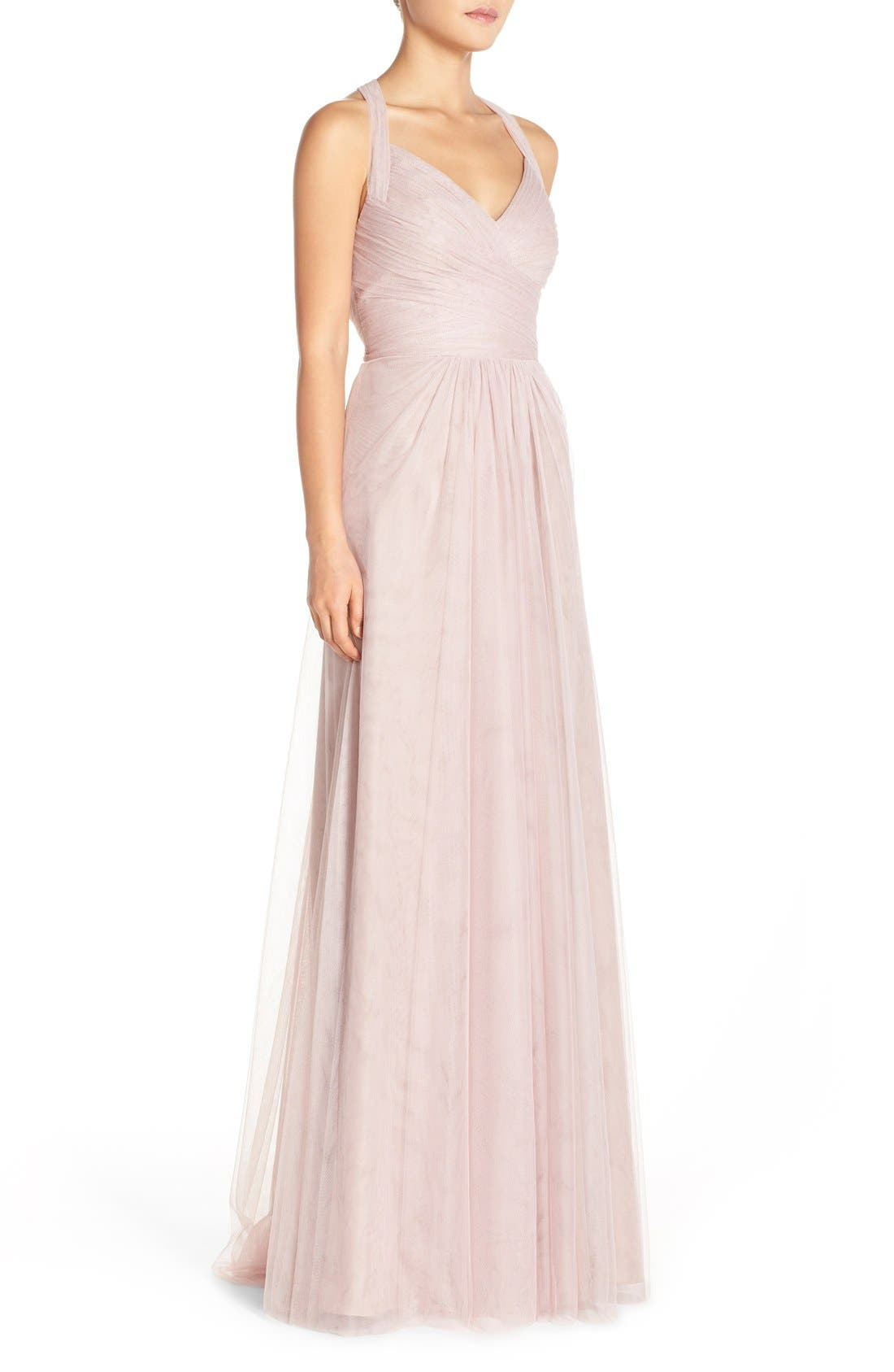 Sleeveless V-Neck Tulle Gown,                             Alternate thumbnail 3, color,                             Rose