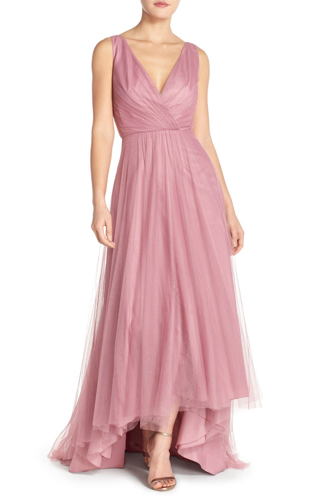 Pleat Tulle V-Neck High/Low Gown,                             Main thumbnail 1, color,                             Cerise