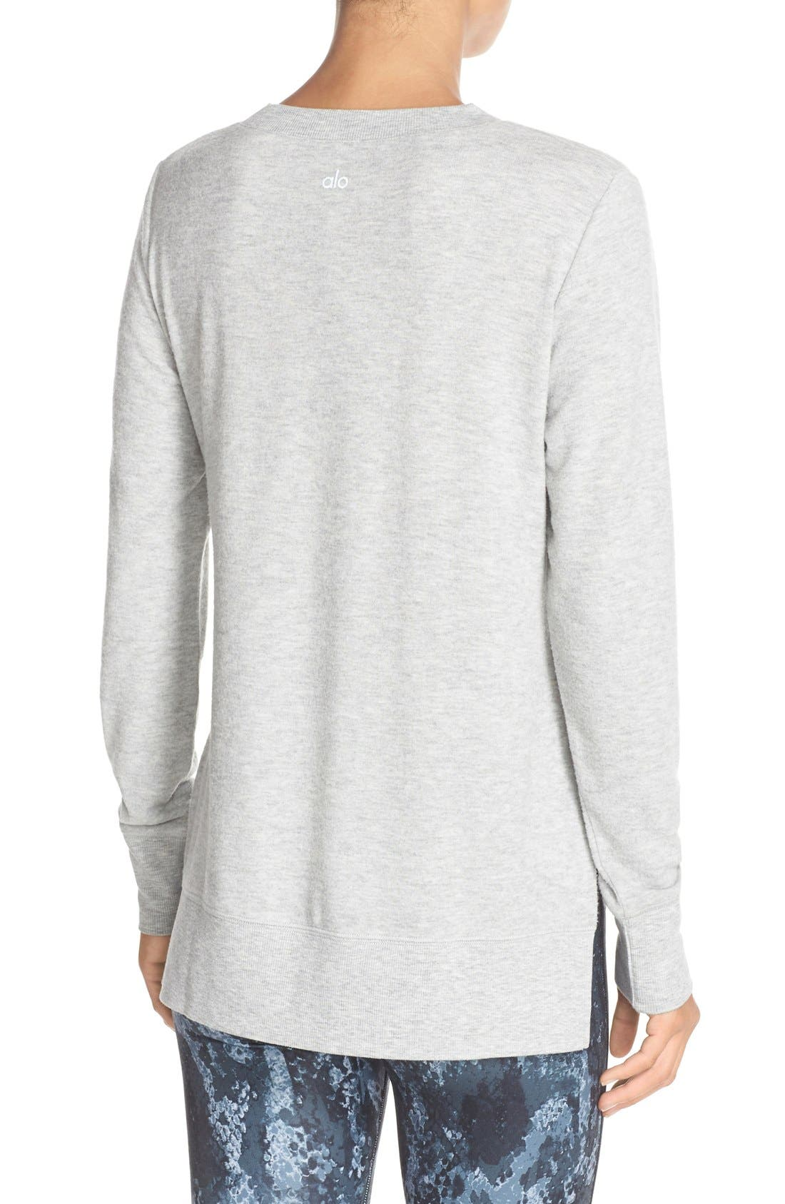 'Glimpse' Long Sleeve Top,                             Alternate thumbnail 2, color,                             Vapor Grey Heather