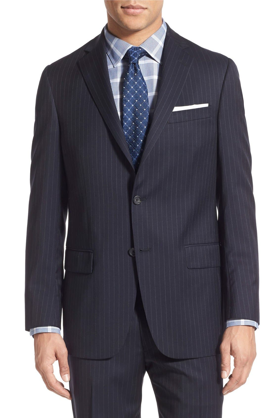 New York Classic Fit Stripe Wool Suit,                             Alternate thumbnail 4, color,                             Navy