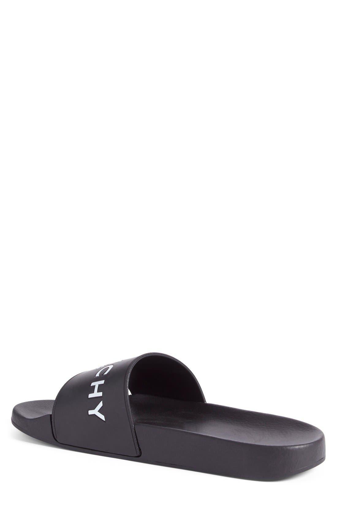 Slide Sandal,                             Alternate thumbnail 2, color,                             Black Leather