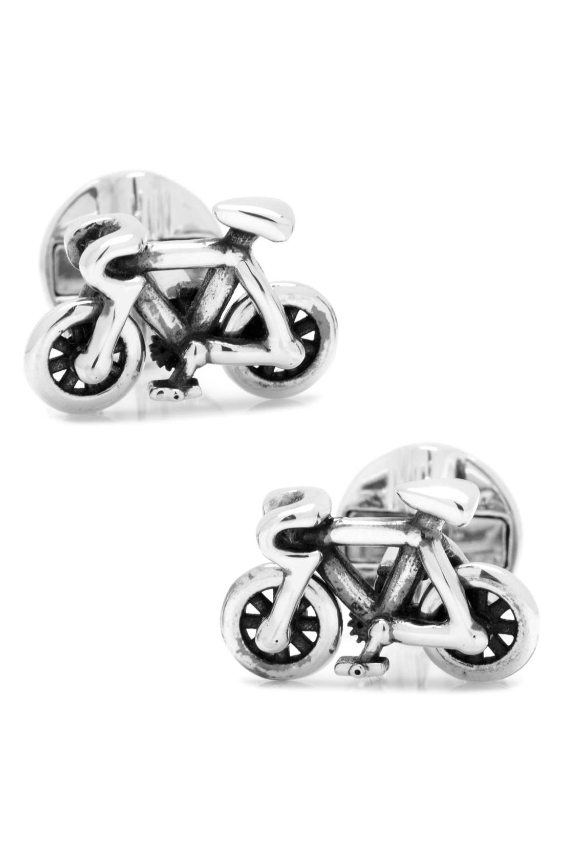 'Bicycle' Cuff Links,                         Main,                         color, Silver