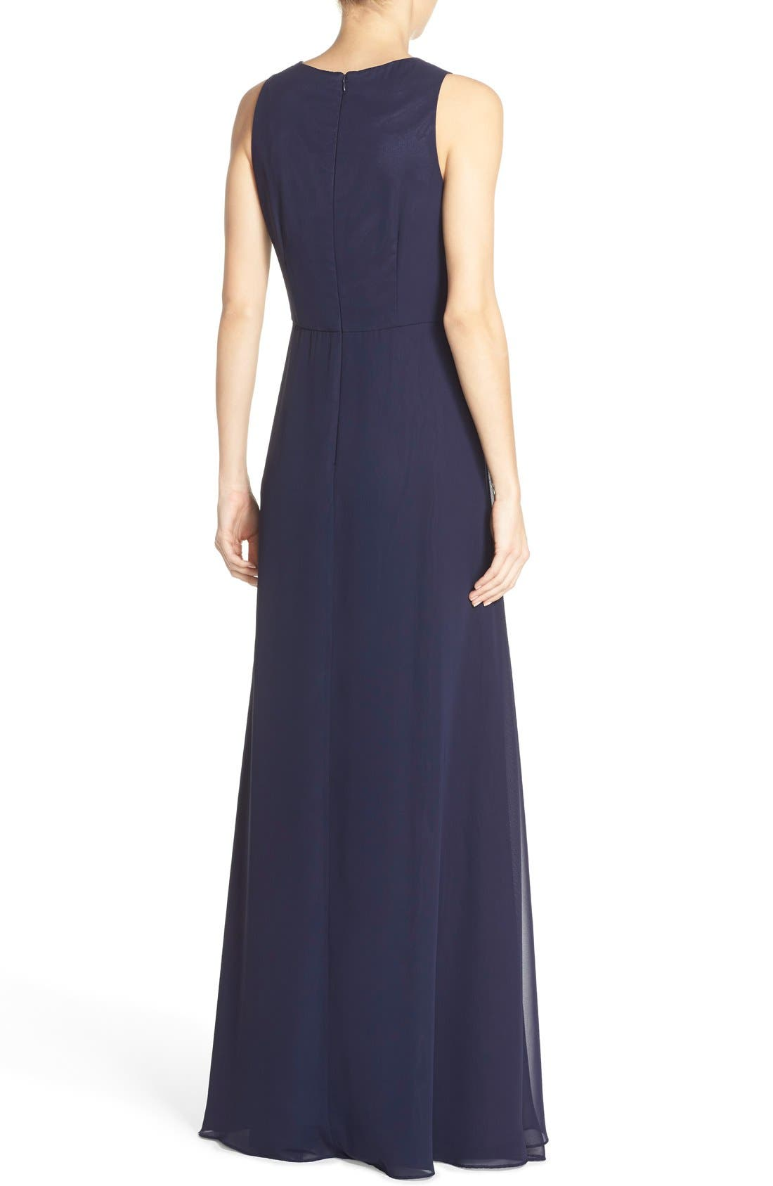 Embellished Chiffon Fit & Flare Gown,                             Alternate thumbnail 3, color,                             Navy