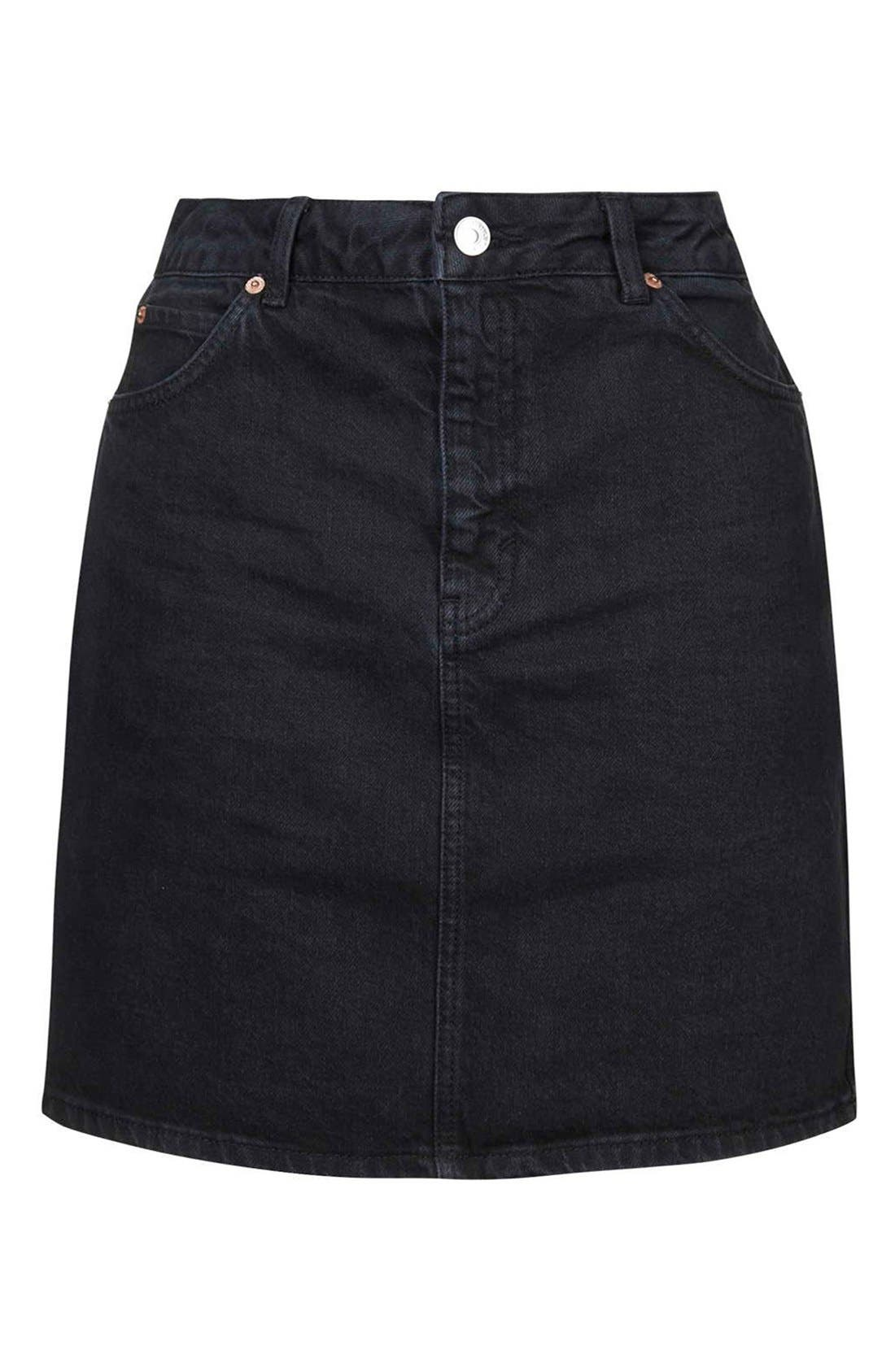 Alternate Image 4  - Topshop Denim A-Line Skirt