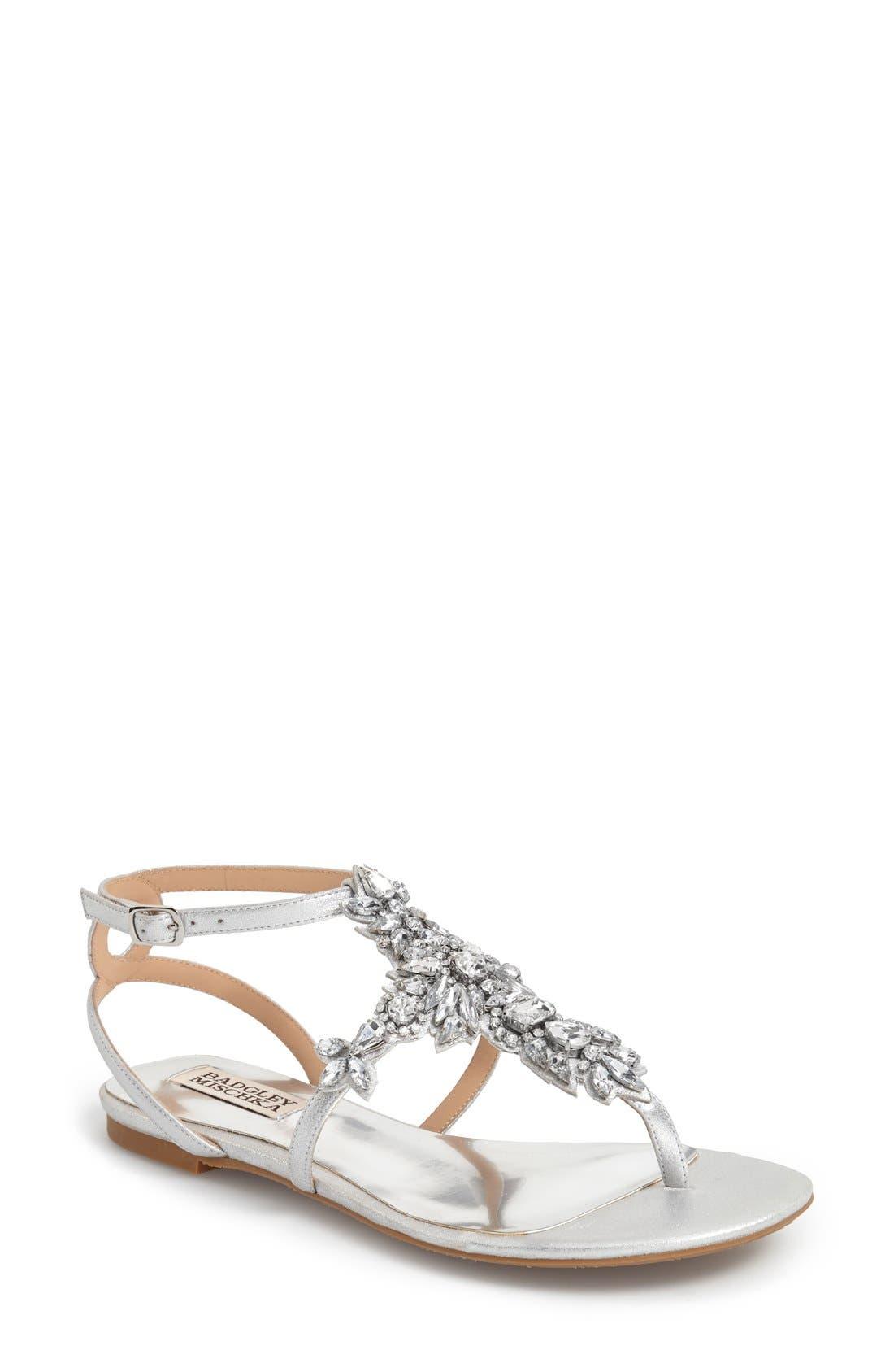 'Cara' Crystal Embellished Flat Sandal,                             Main thumbnail 1, color,                             Silver