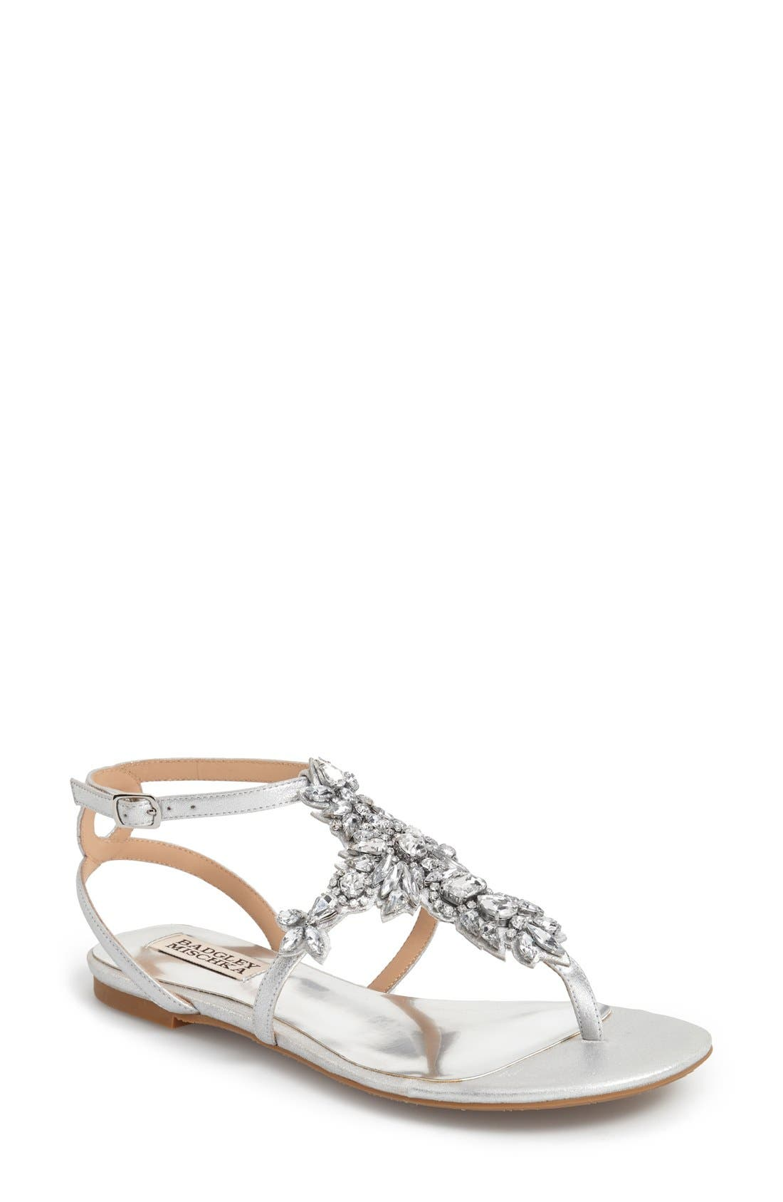 Badgley Mischka 'Cara' Crystal Embellished Flat Sandal (Women)