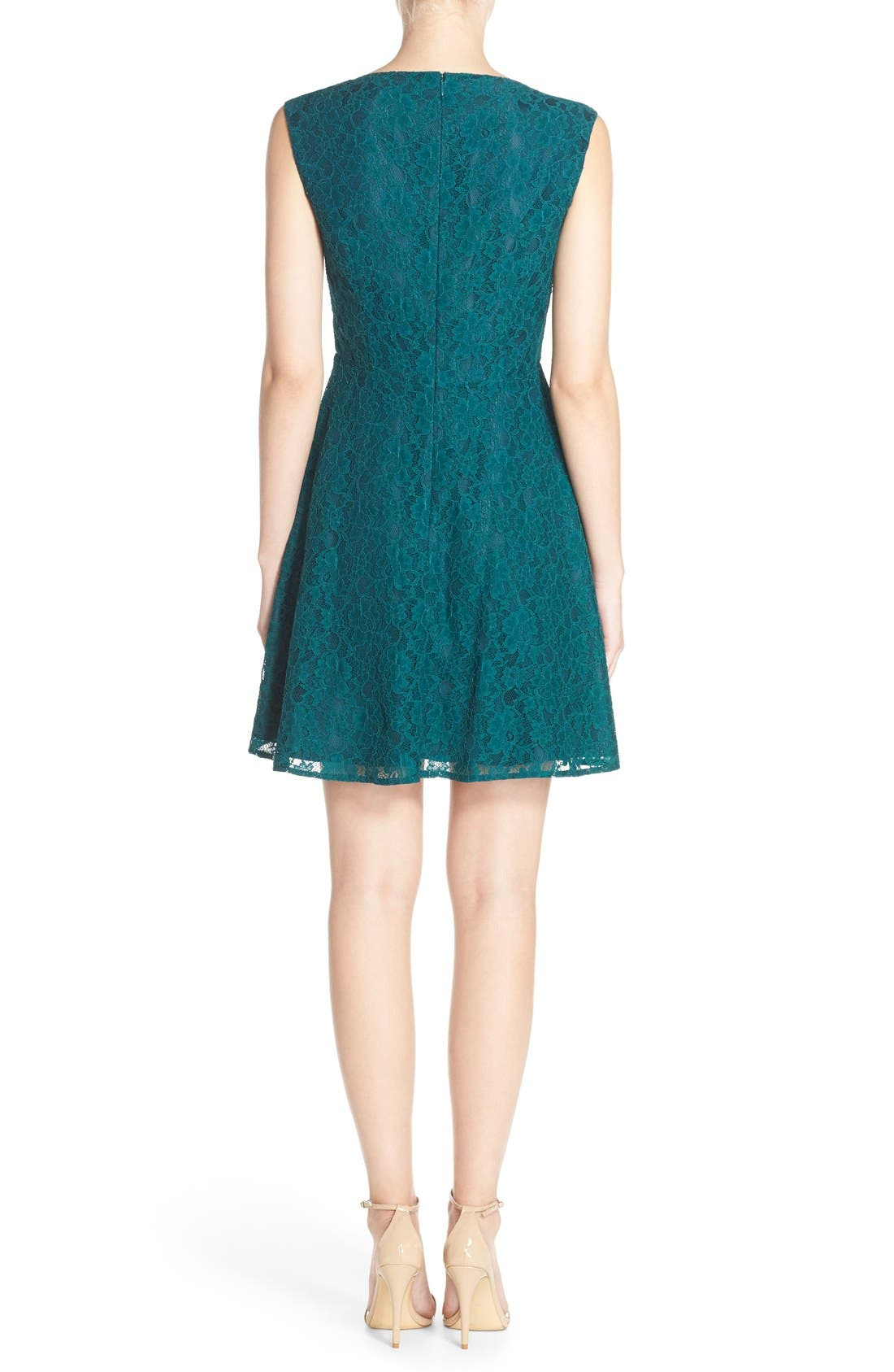 Fit & Flare Dress,                             Alternate thumbnail 3, color,                             Jewel Green
