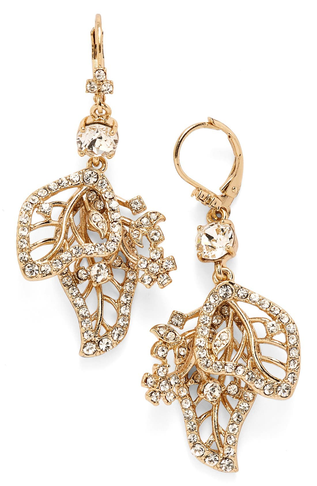 Main Image - Marchesa Crystal Leaf Drop Earrings