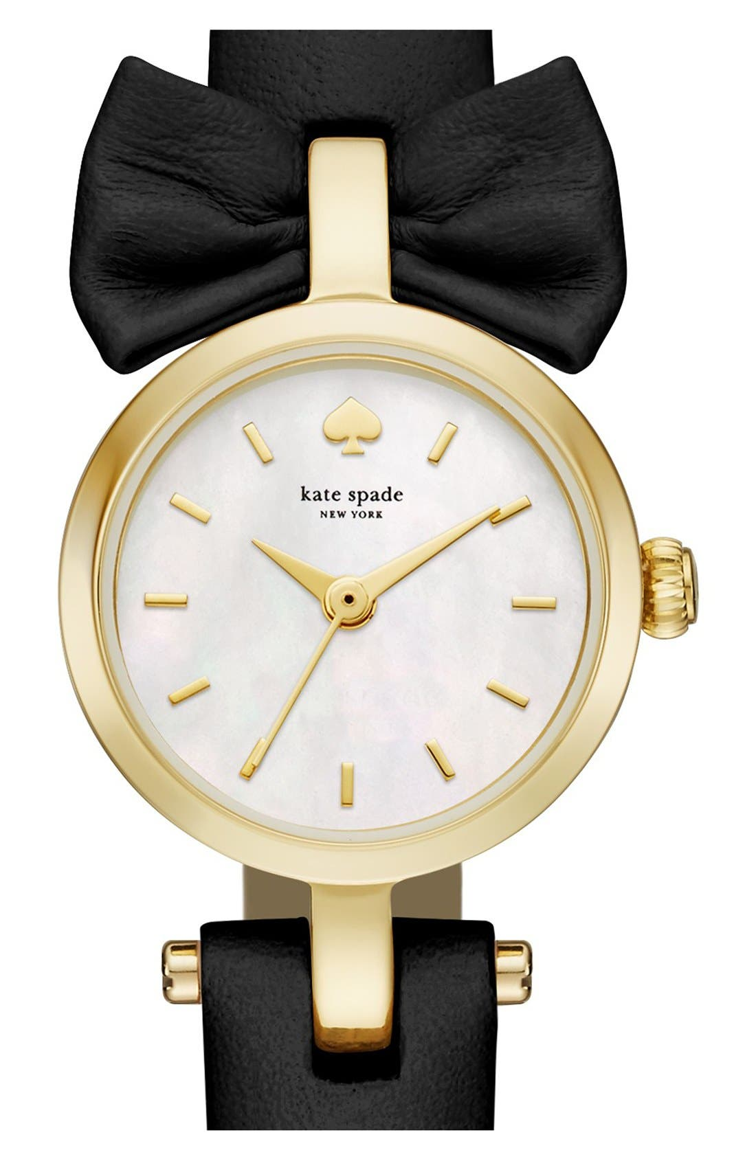 Alternate Image 1 Selected - kate spade new york 'tiny metro - bow' leather strap watch, 20mm