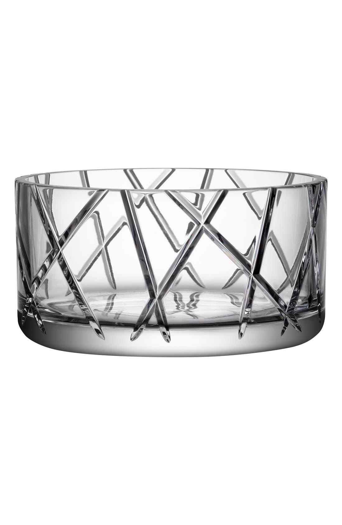 'Explicit Stripes' Lead Crystal Bowl,                             Main thumbnail 1, color,                             Clear