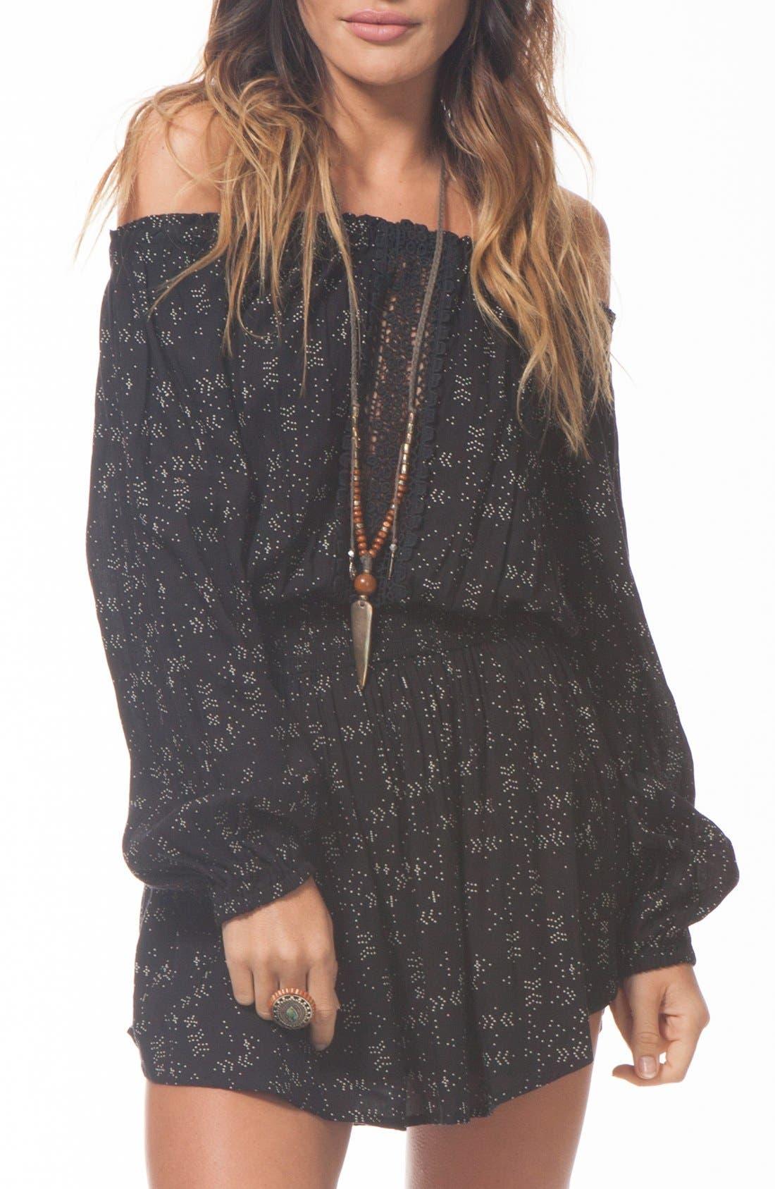 Main Image - Rip Curl 'Starlight' Print Off the Shoulder Dress