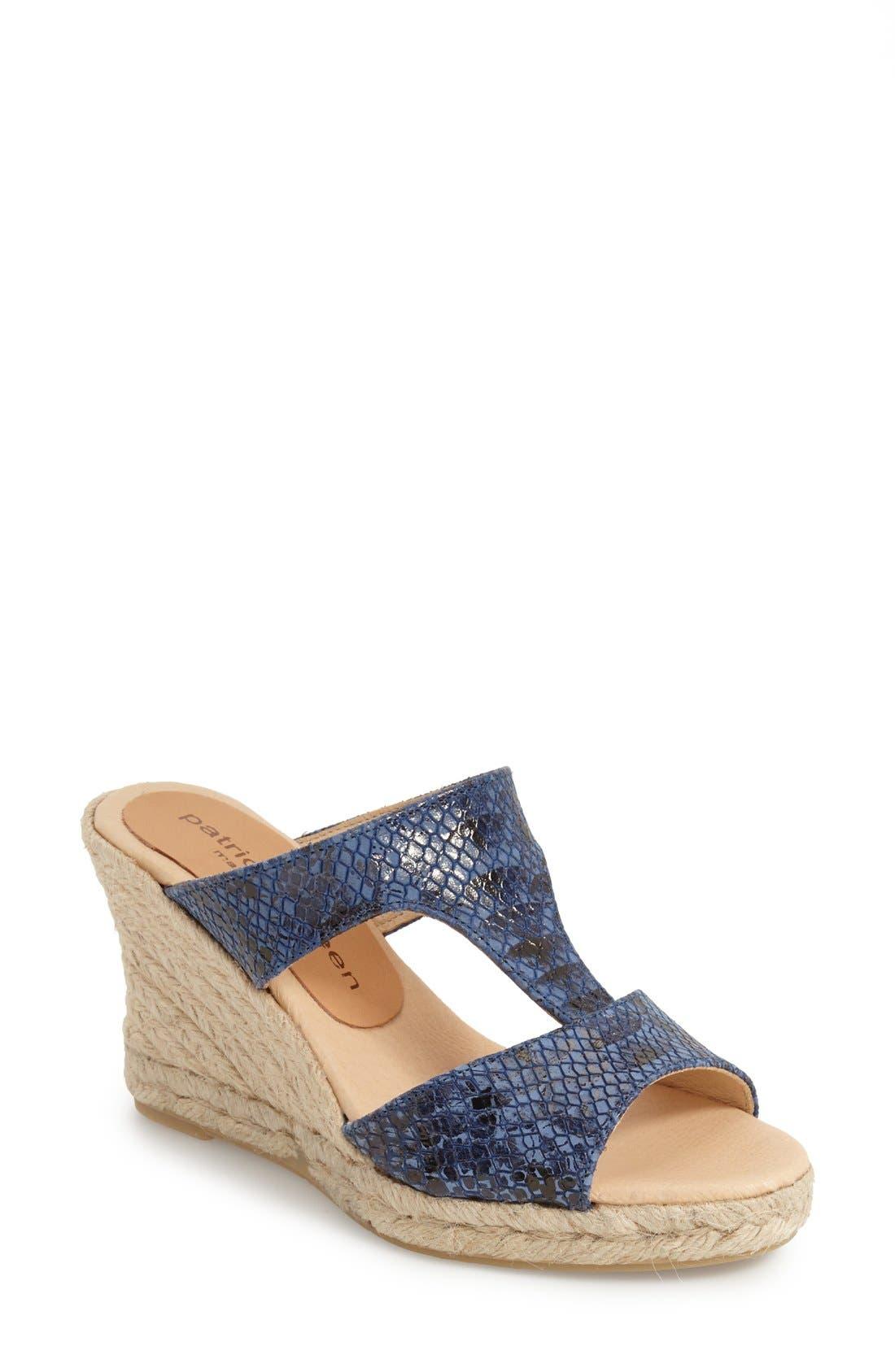 Snake Embossed Wedge Sandal,                         Main,                         color, Cobalt