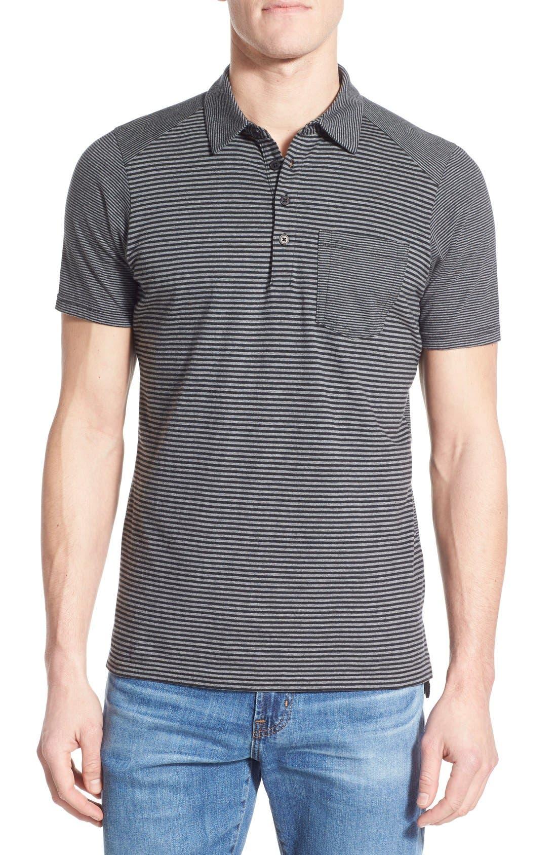 'Echo' Stripe Jersey Organic Cotton Polo,                         Main,                         color, Caviar Stripe