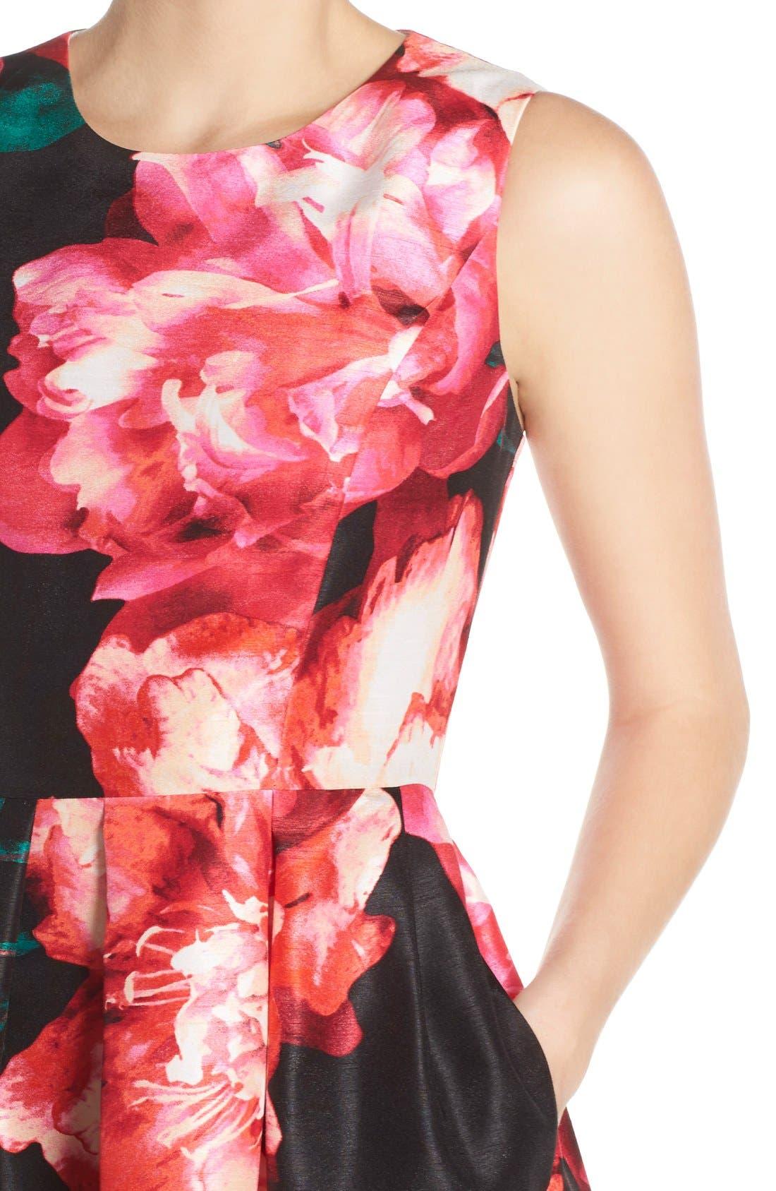 Alternate Image 5  - Donna Ricco Floral Shantung Fit & Flare Dress