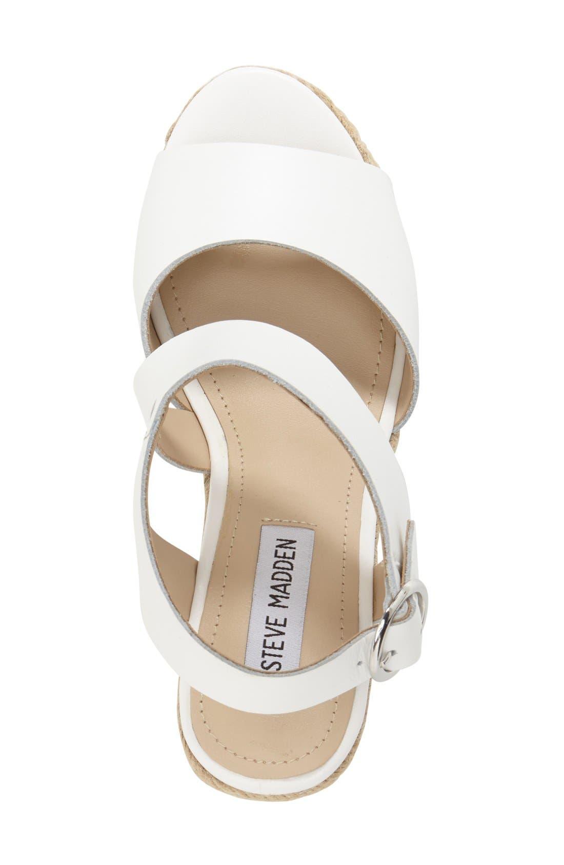'Wavi' Espadrille Wedge Sandal,                             Alternate thumbnail 3, color,                             White Leather