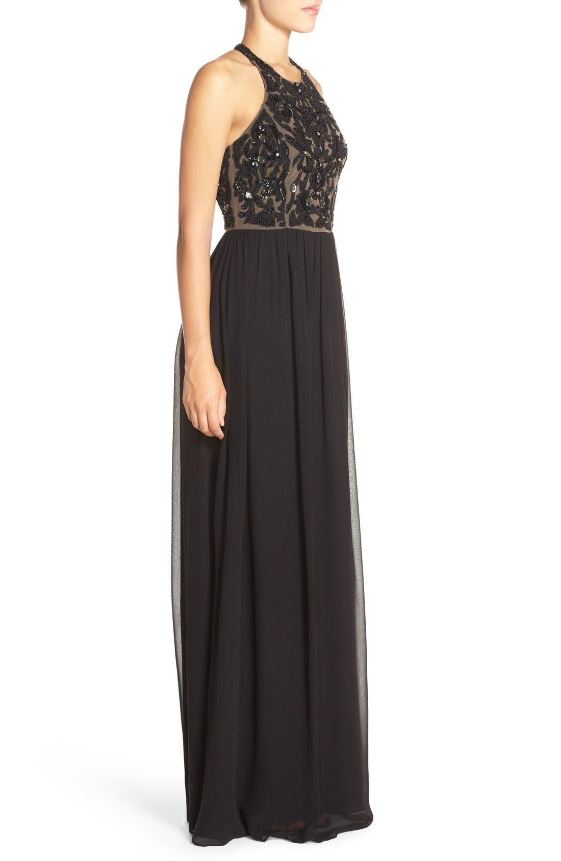 Alternate Image 3  - Parker 'Cassey' Embellished Bodice Halter Style Gown