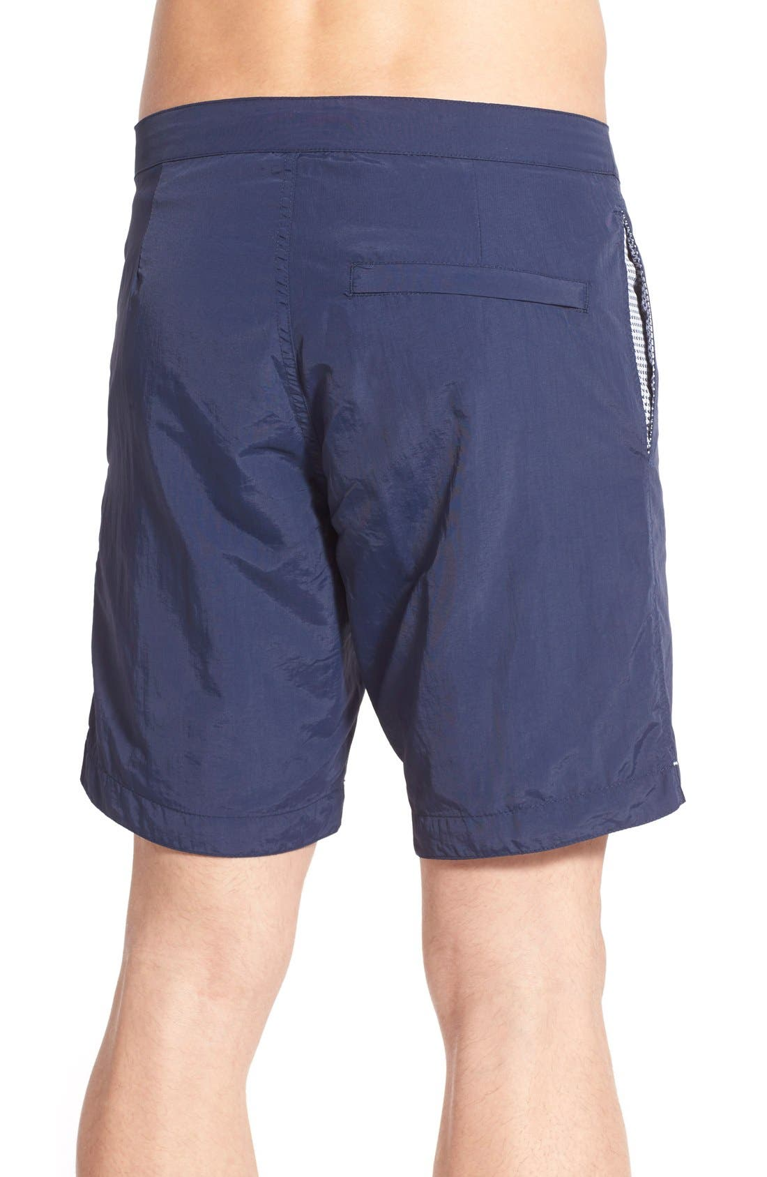 Aruba Tailored Fit 8.5 Inch Swim Trunks,                             Alternate thumbnail 2, color,                             Deep Navy Blue