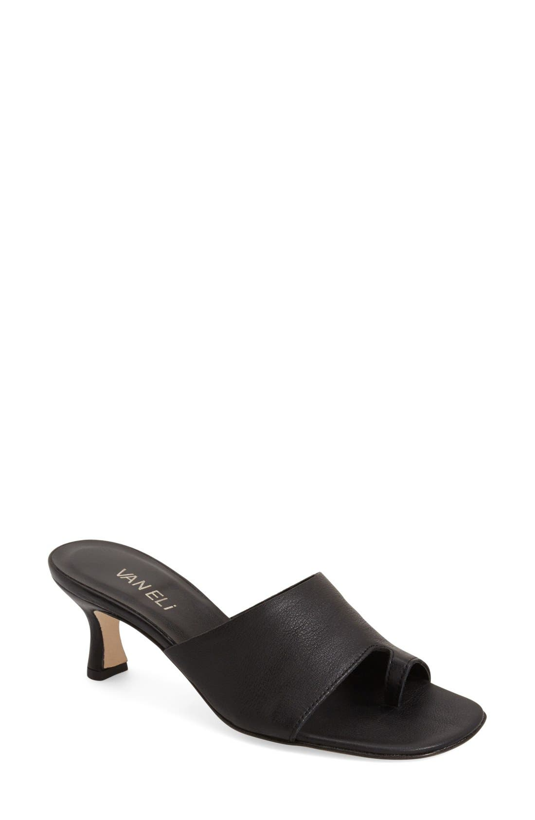 'Melea' Slide Sandal,                             Main thumbnail 1, color,                             Black Sweta Calf