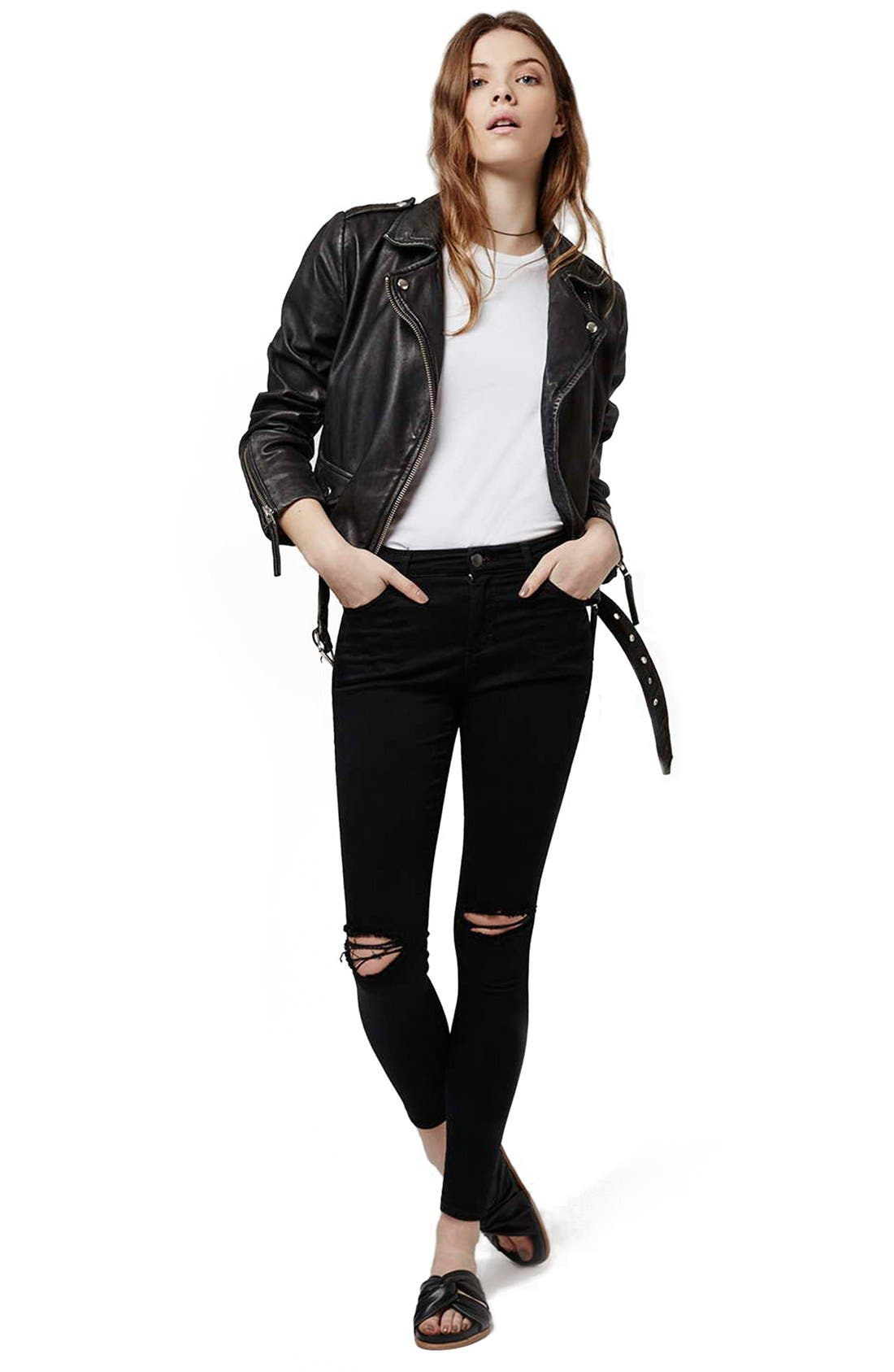 Alternate Image 2  - Topshop 'Leigh' Ripped Skinny Jeans (Petite)