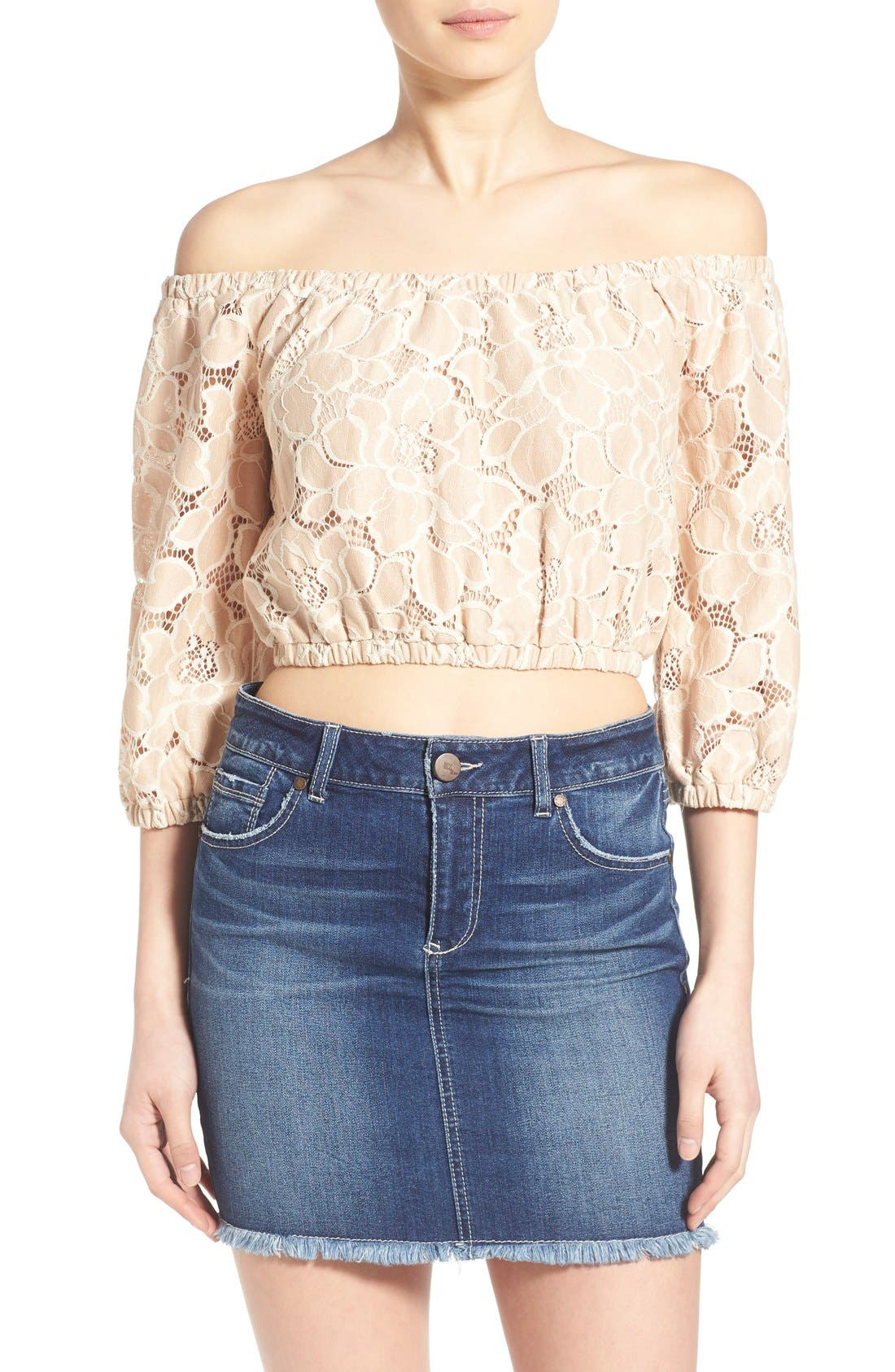 Alternate Image 1 Selected - Tularosa 'Hadley' Off the Shoulder Lace Crop Top