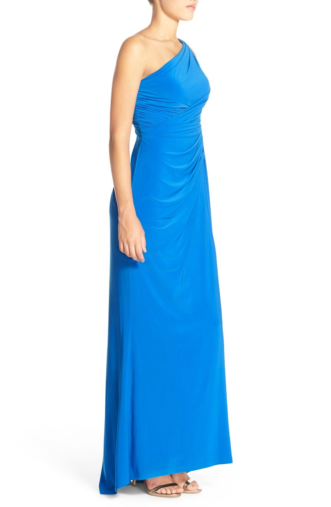 Alternate Image 3  - Adrianna Papell One-Shoulder Draped Jersey Gown