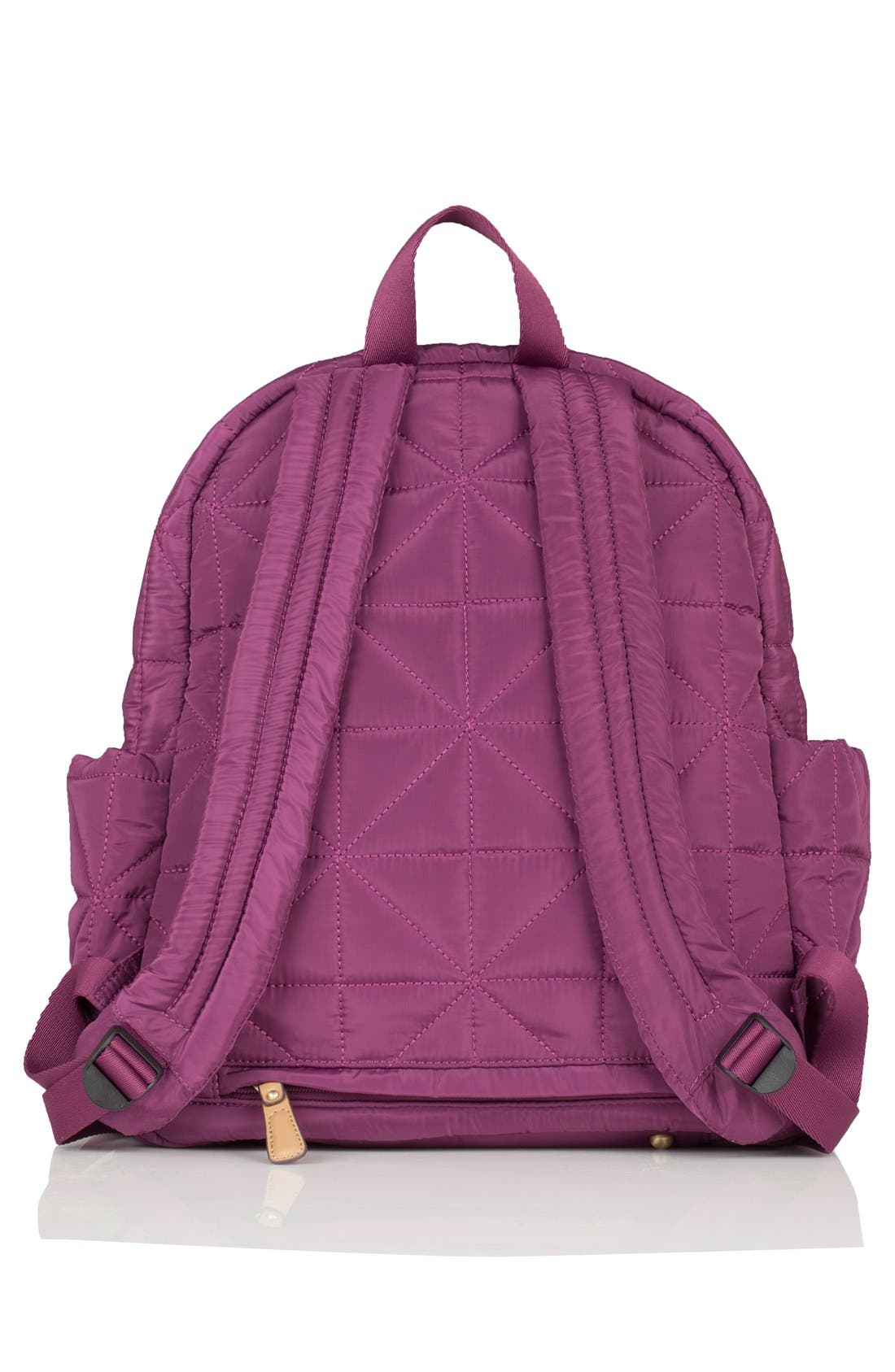 Quilted Water Resistant Nylon Diaper Backpack,                             Alternate thumbnail 2, color,                             Plum