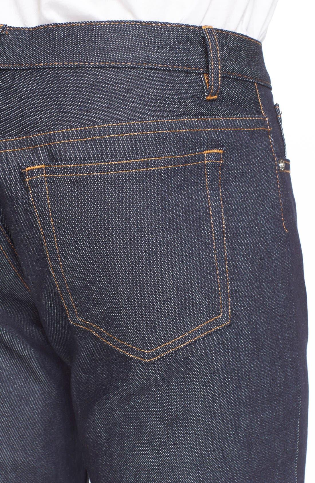 Alternate Image 4  - A.P.C. 'Petite New Standard' Skinny Fit Jeans (Indigo)