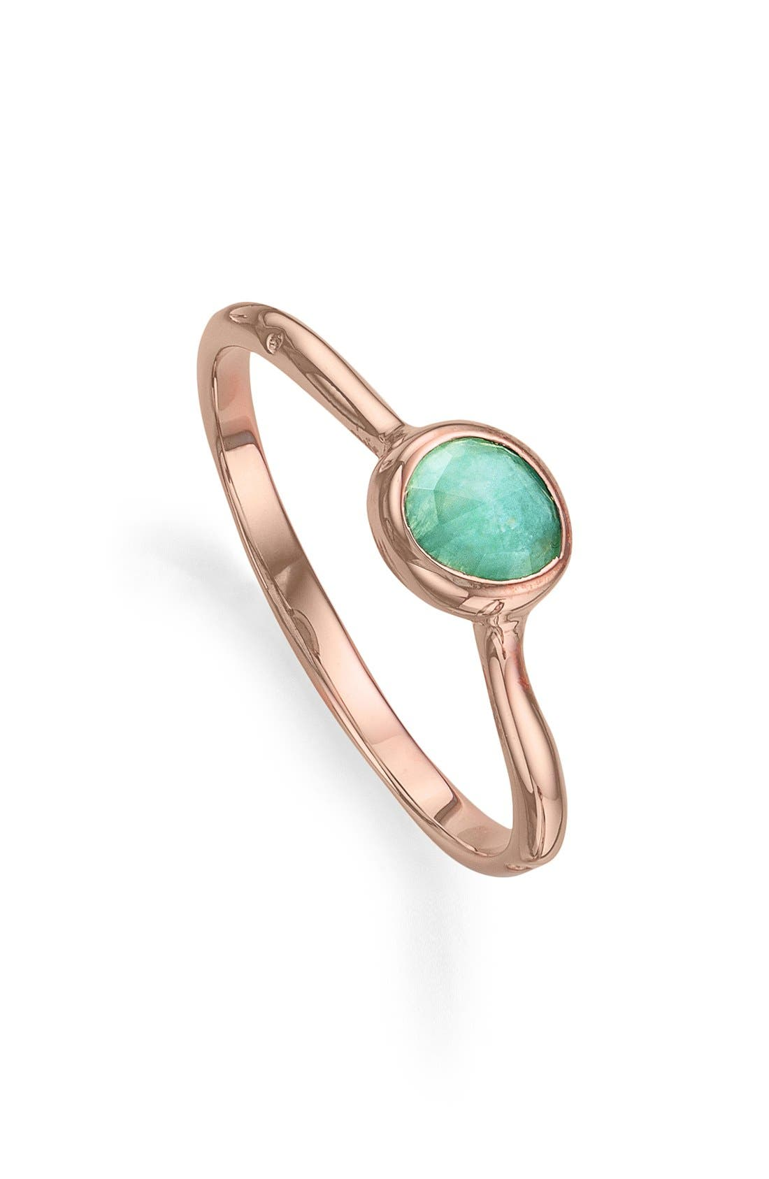 'Siren' Small Stacking Ring,                             Main thumbnail 1, color,                             Amazonite/ Rose Gold
