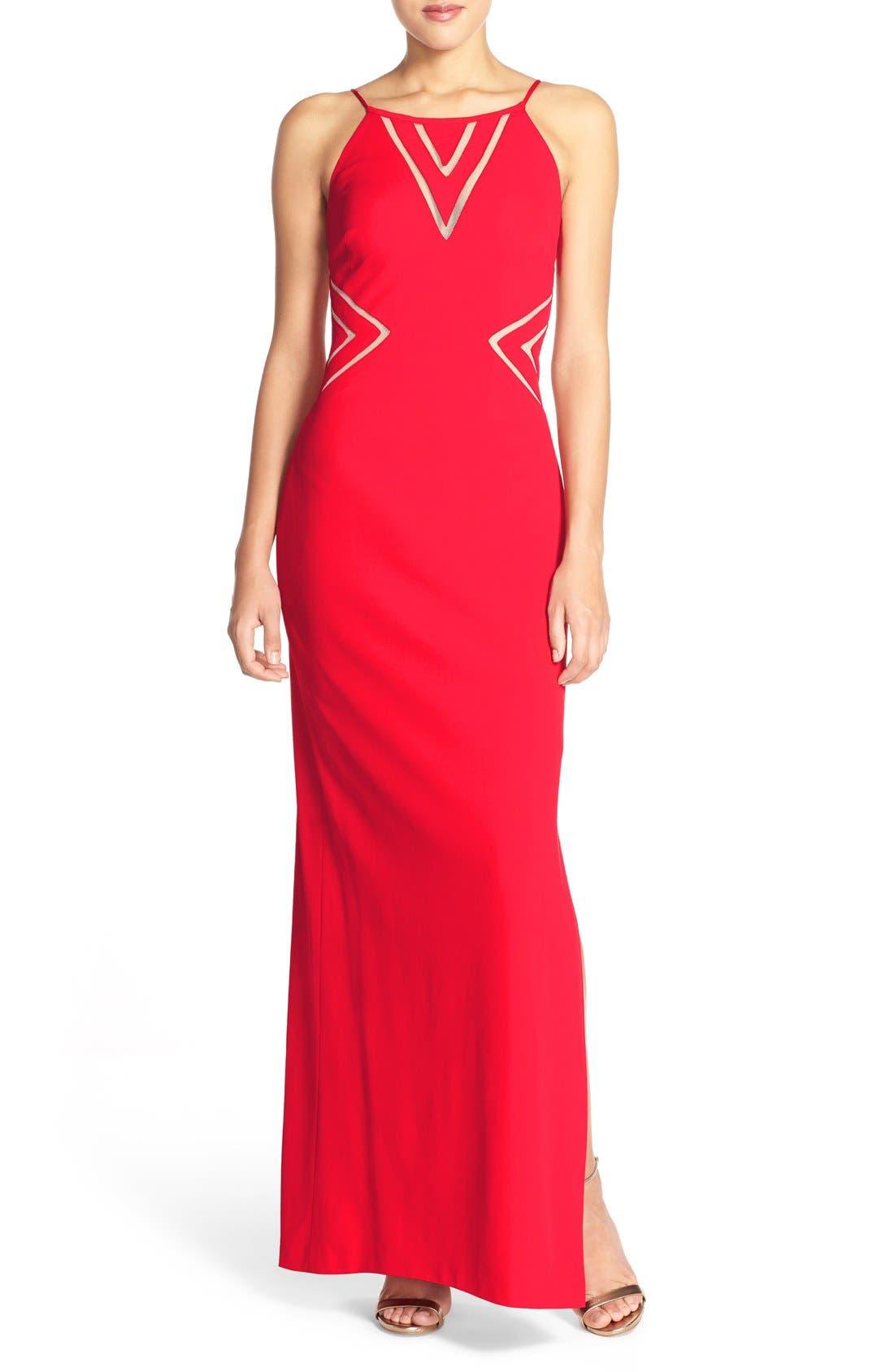 Alternate Image 1 Selected - Aidan Mattox Mesh Inset Jersey Gown