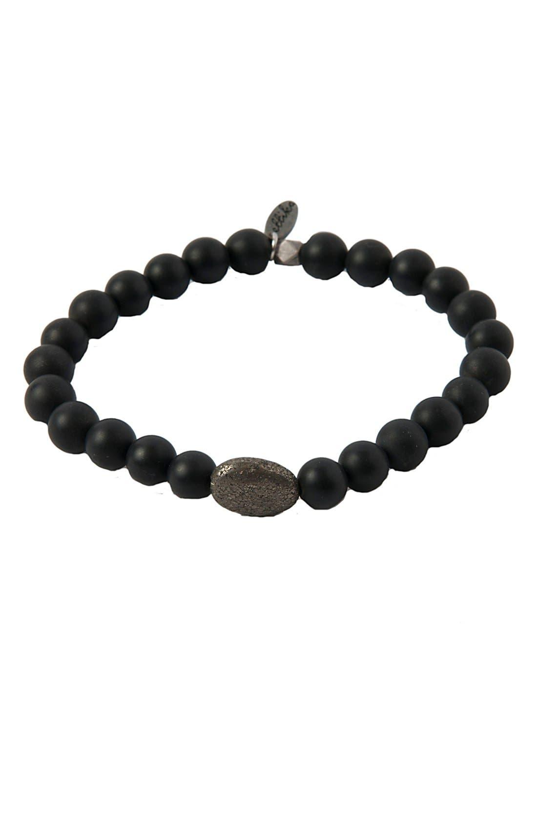 MR. ETTIKA Onyx & Pyrite Stretch Bracelet