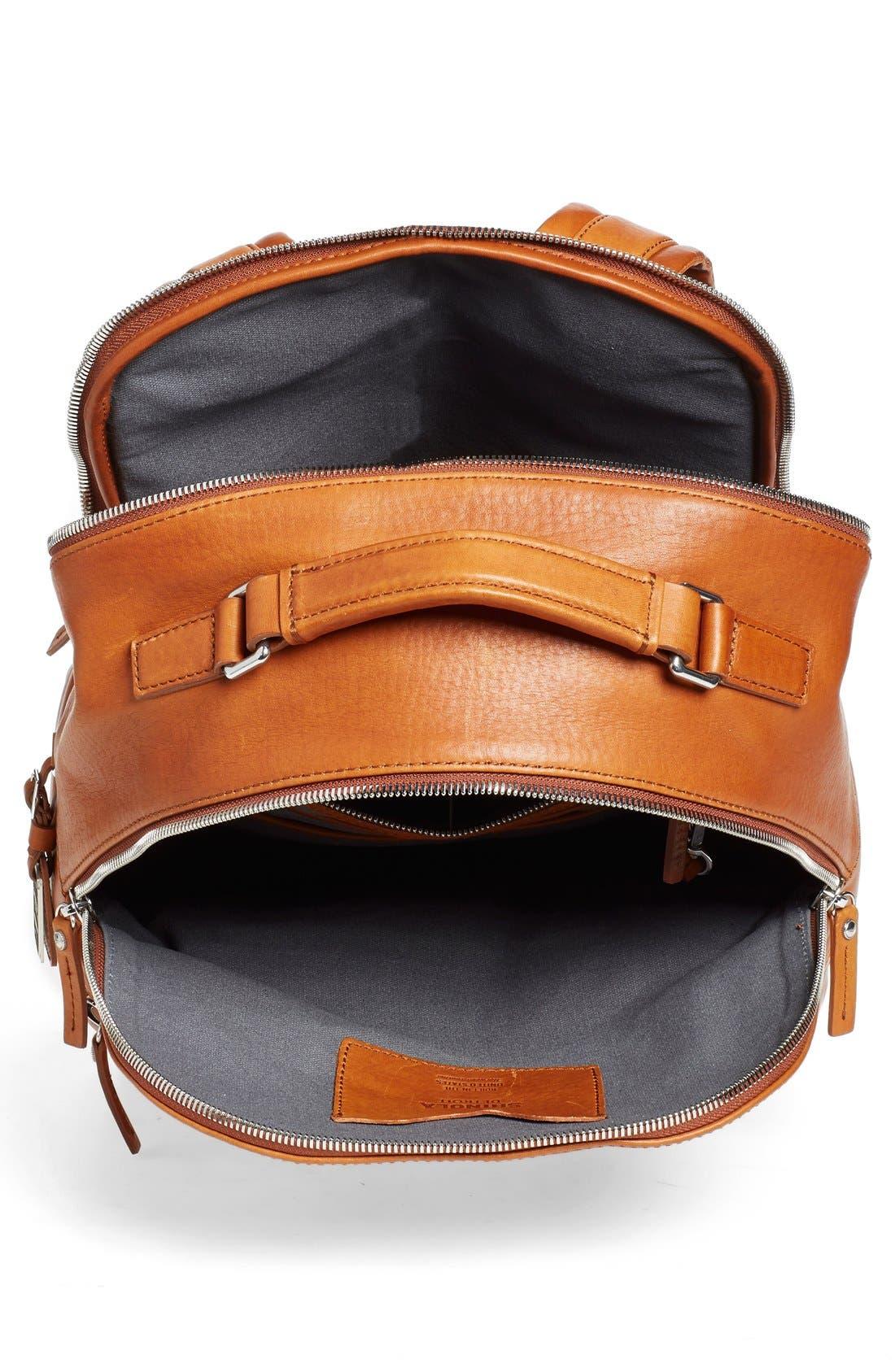 Runwell Leather Laptop Backpack,                             Alternate thumbnail 4, color,                             Bourbon