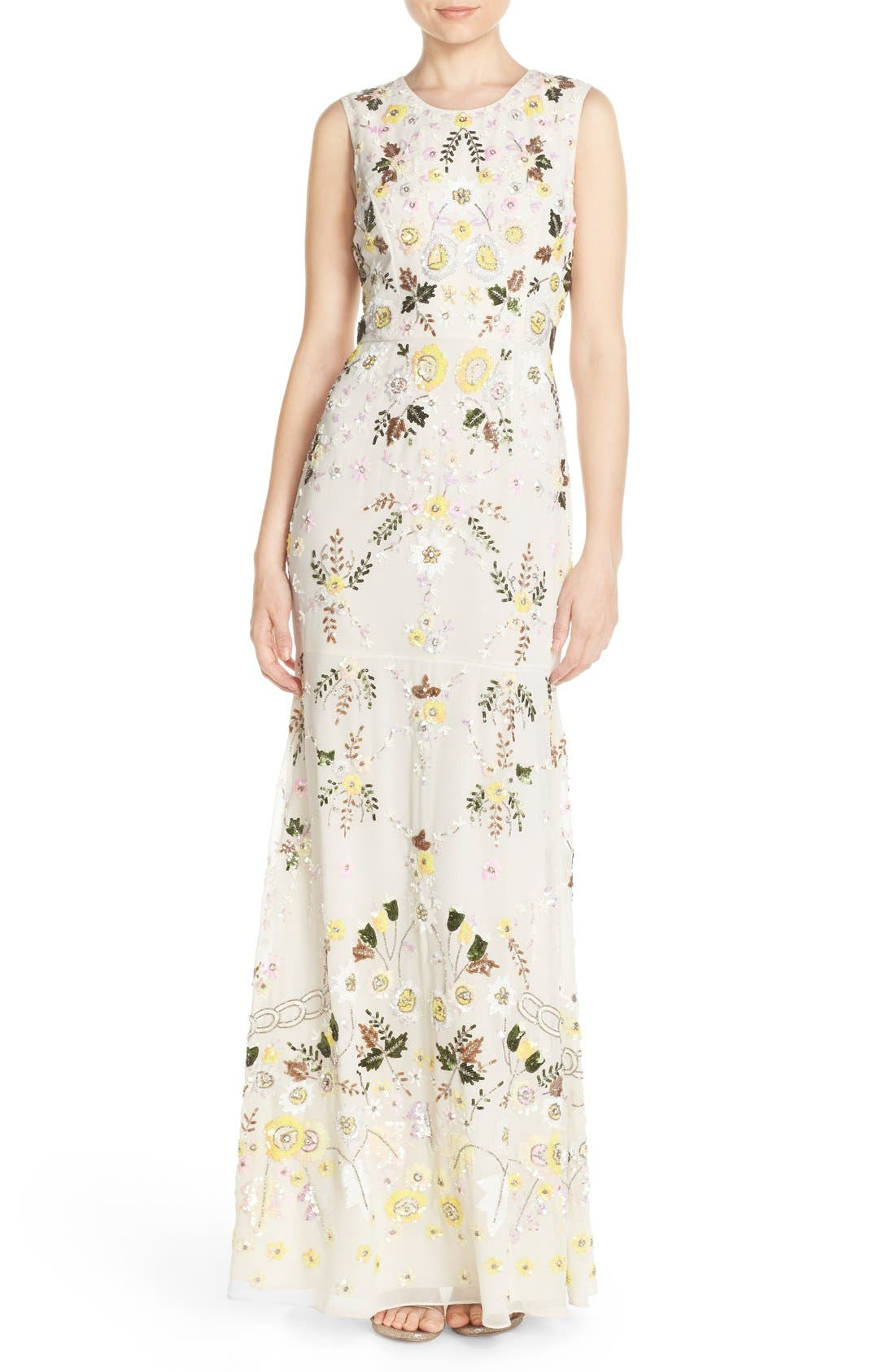 Main Image - Needle & Thread 'Sunflower' Embellished Chiffon Mermaid Gown