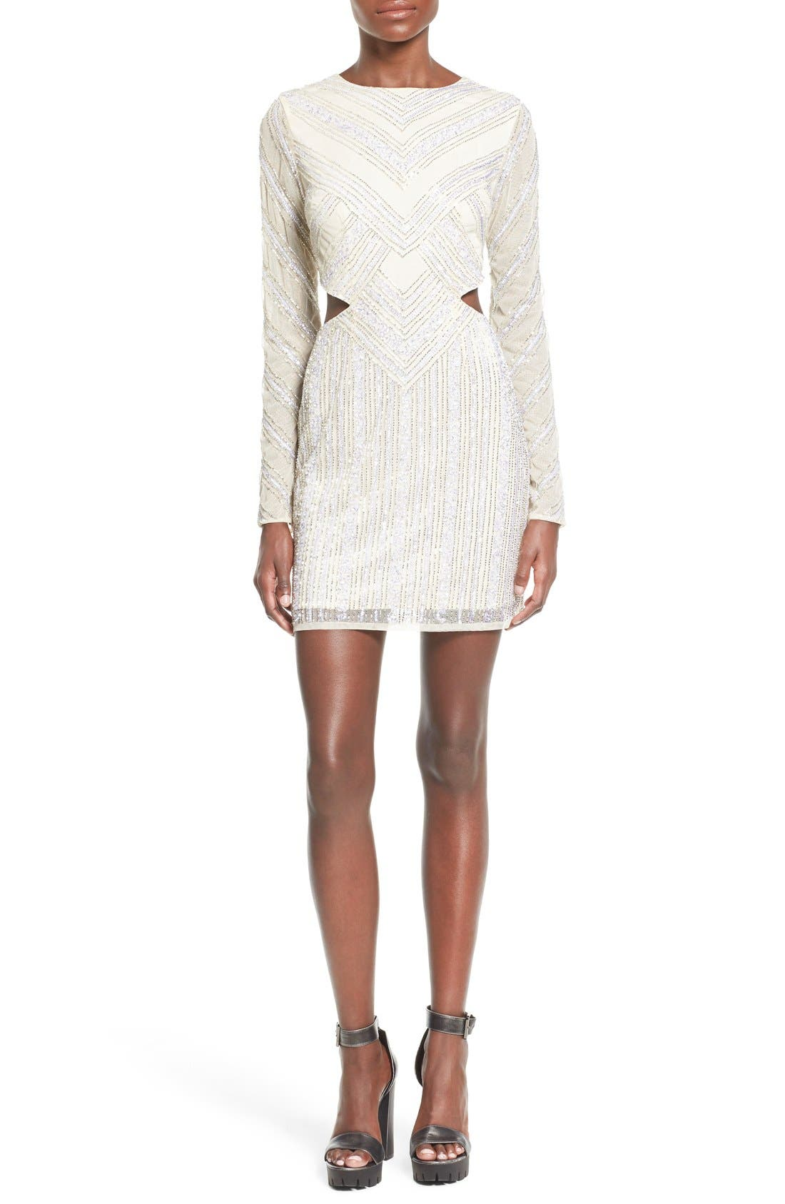 Embellished Cutout Sheath Dress,                         Main,                         color, White