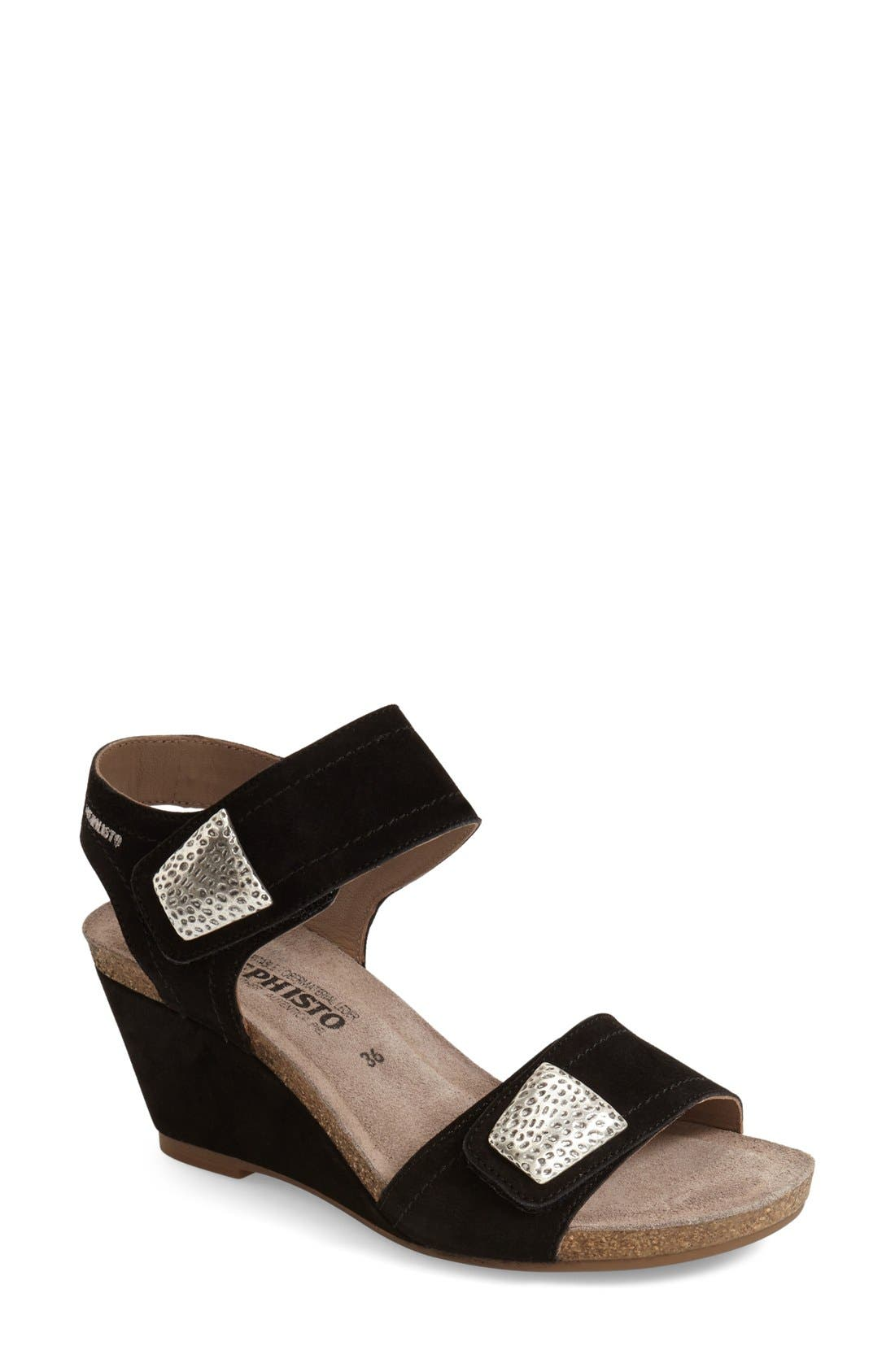 'Jackie' Wedge Sandal,                             Main thumbnail 1, color,                             Black Premium Suede