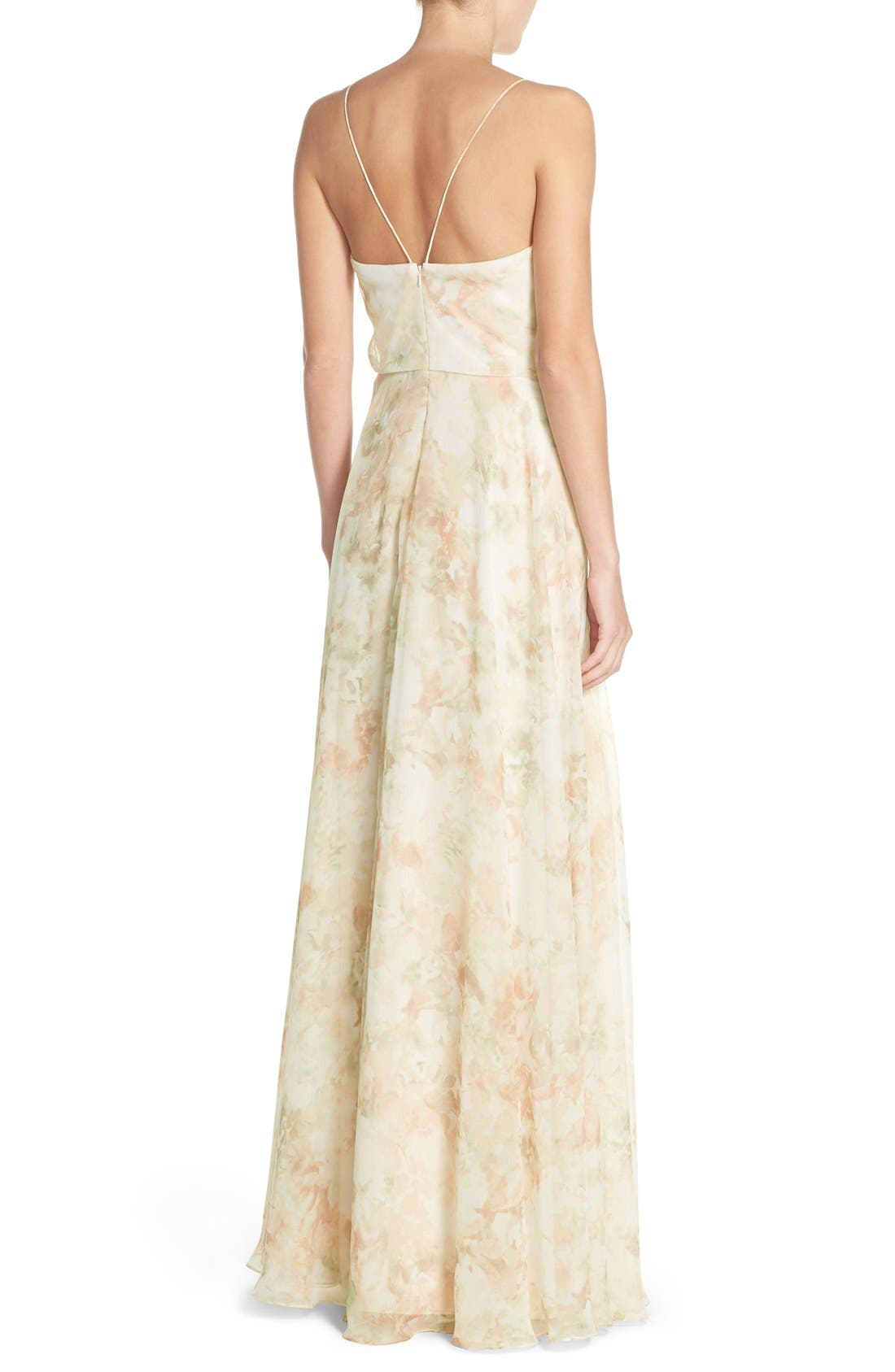 Alternate Image 2  - Jenny Yoo Inesse V-Neck Chiffon Gown