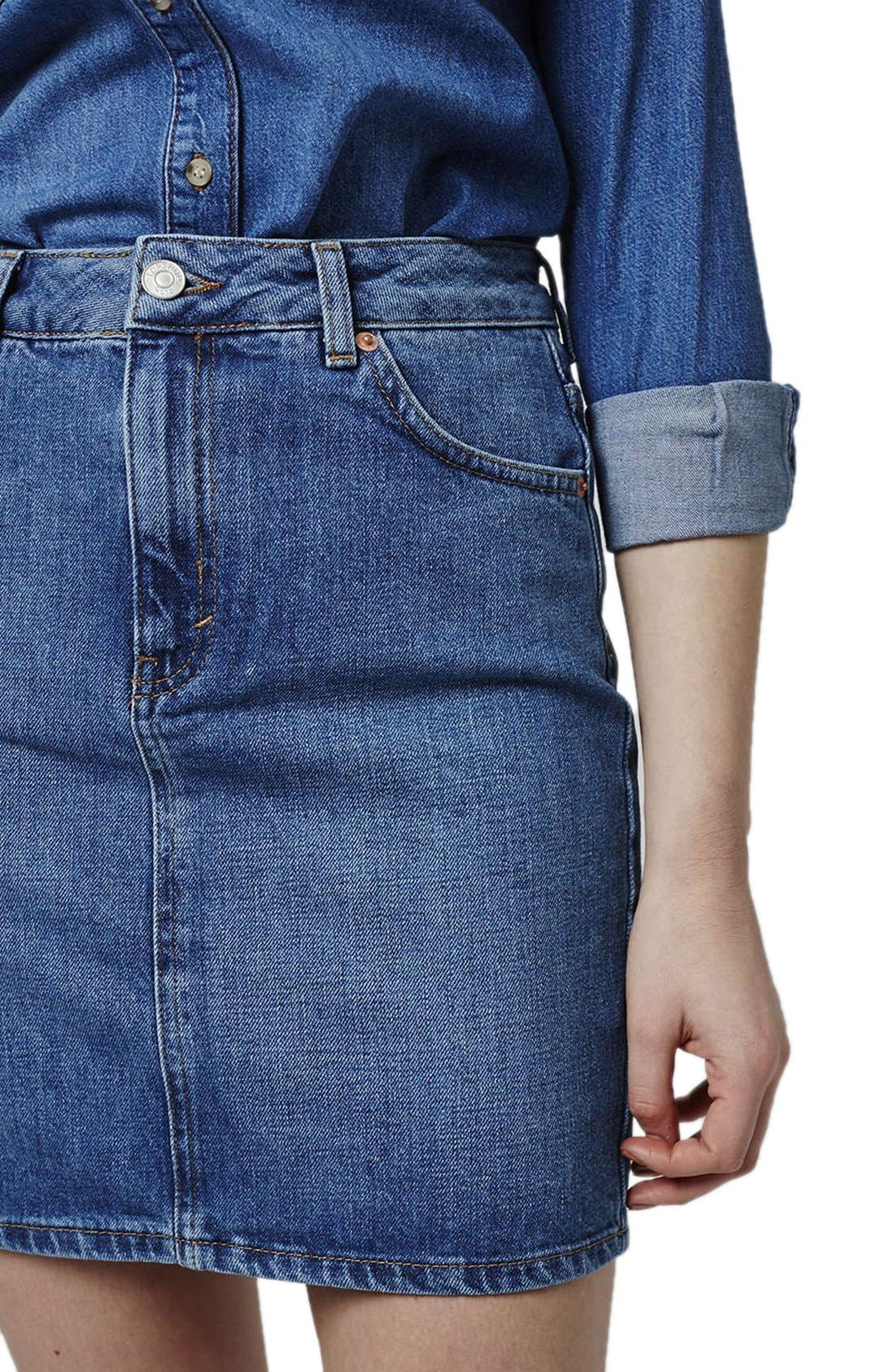 Alternate Image 4  - Topshop High Waist Denim Miniskirt