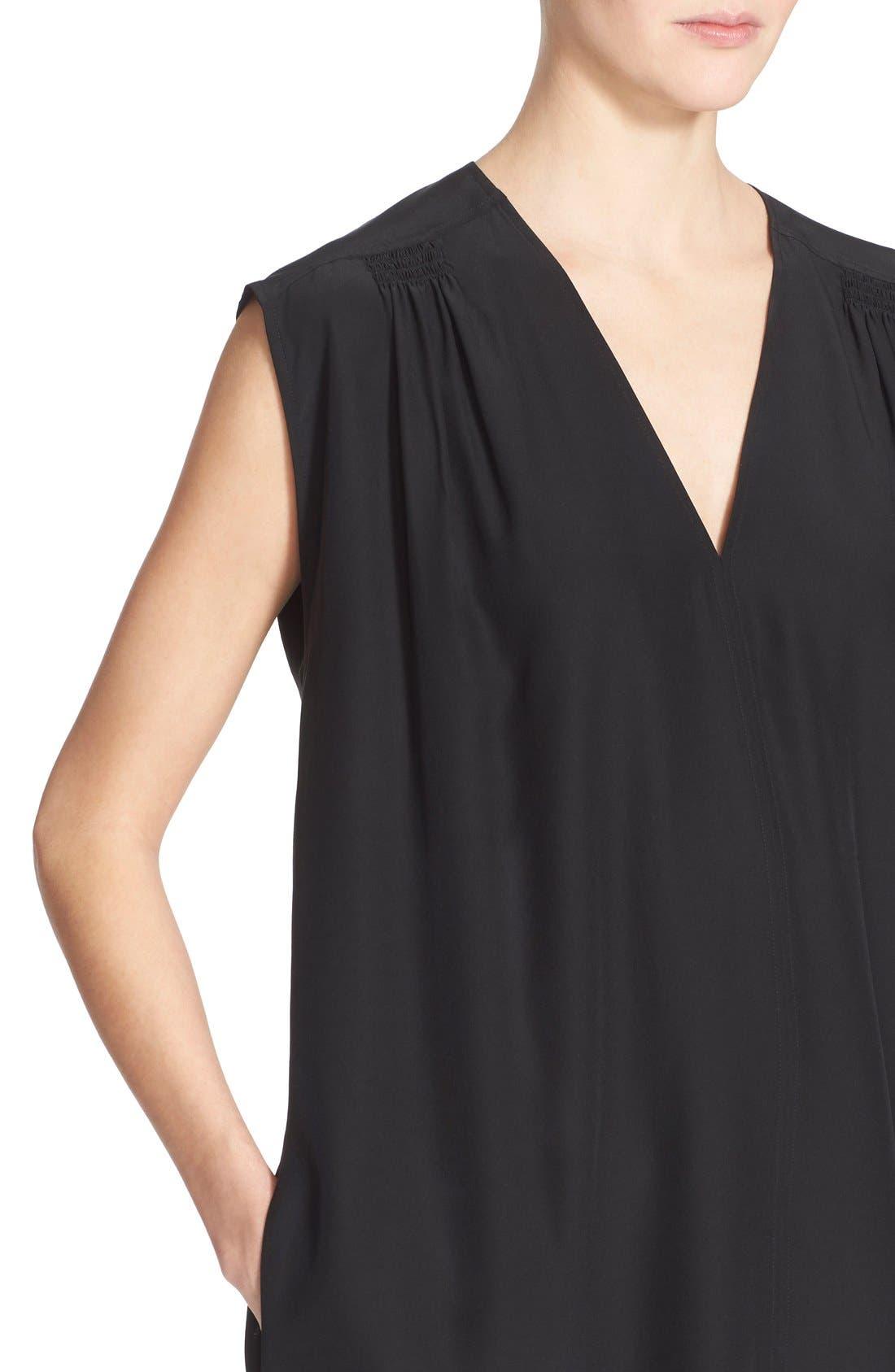 Alternate Image 4  - Vince Smocked Cap Sleeve Silk Shift Dress