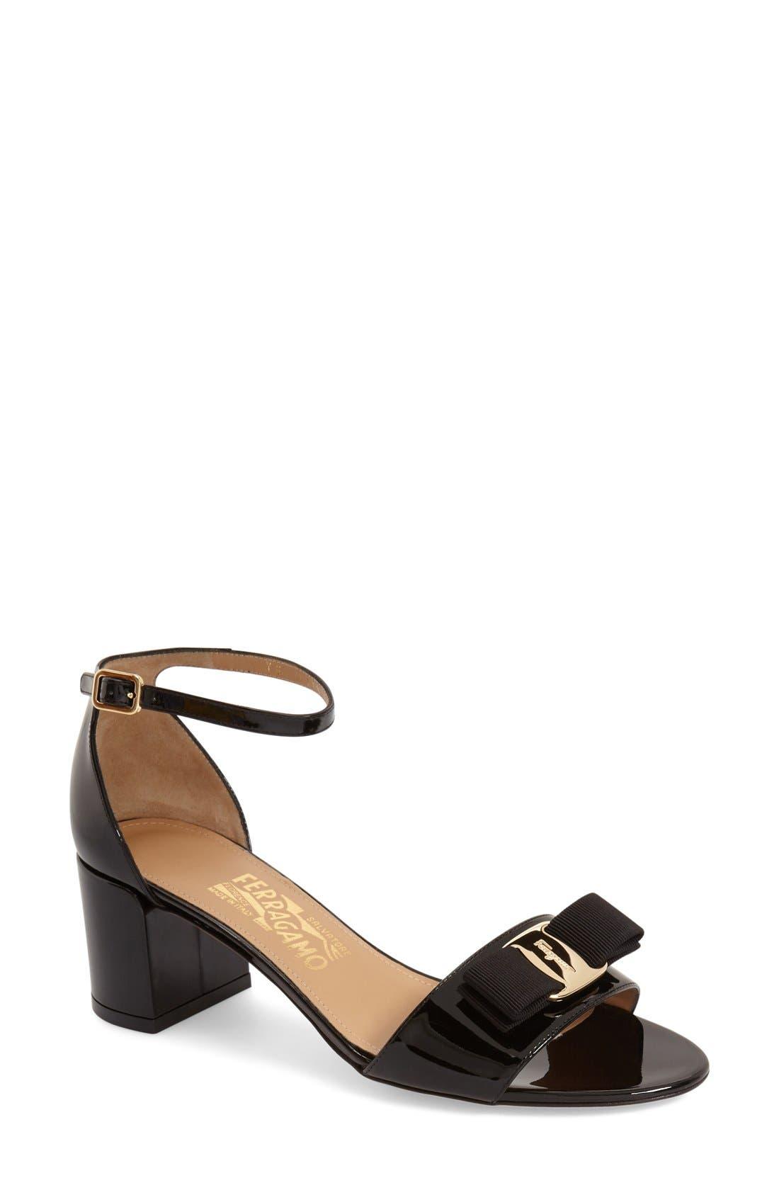Gavina Block Heel Bow Sandal,                             Main thumbnail 1, color,                             Black Patent