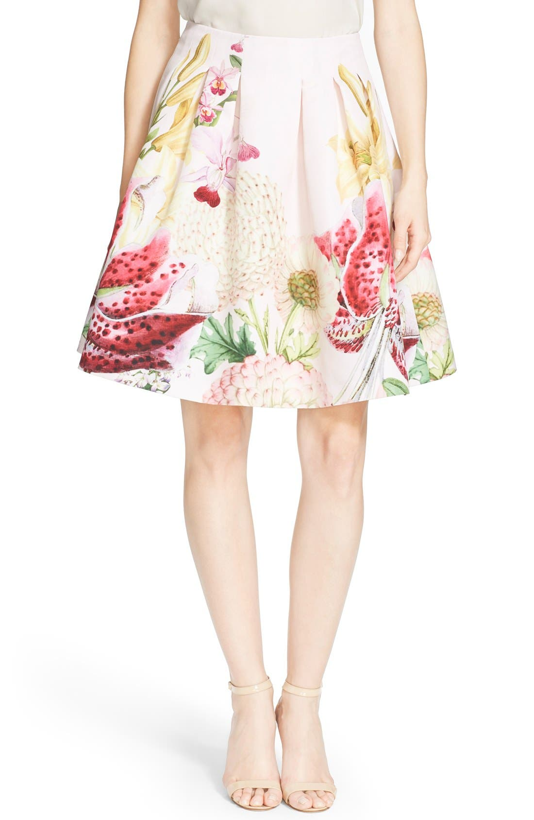 Alternate Image 1 Selected - Ted Baker London 'Rowahn' Floral Print Full Skirt