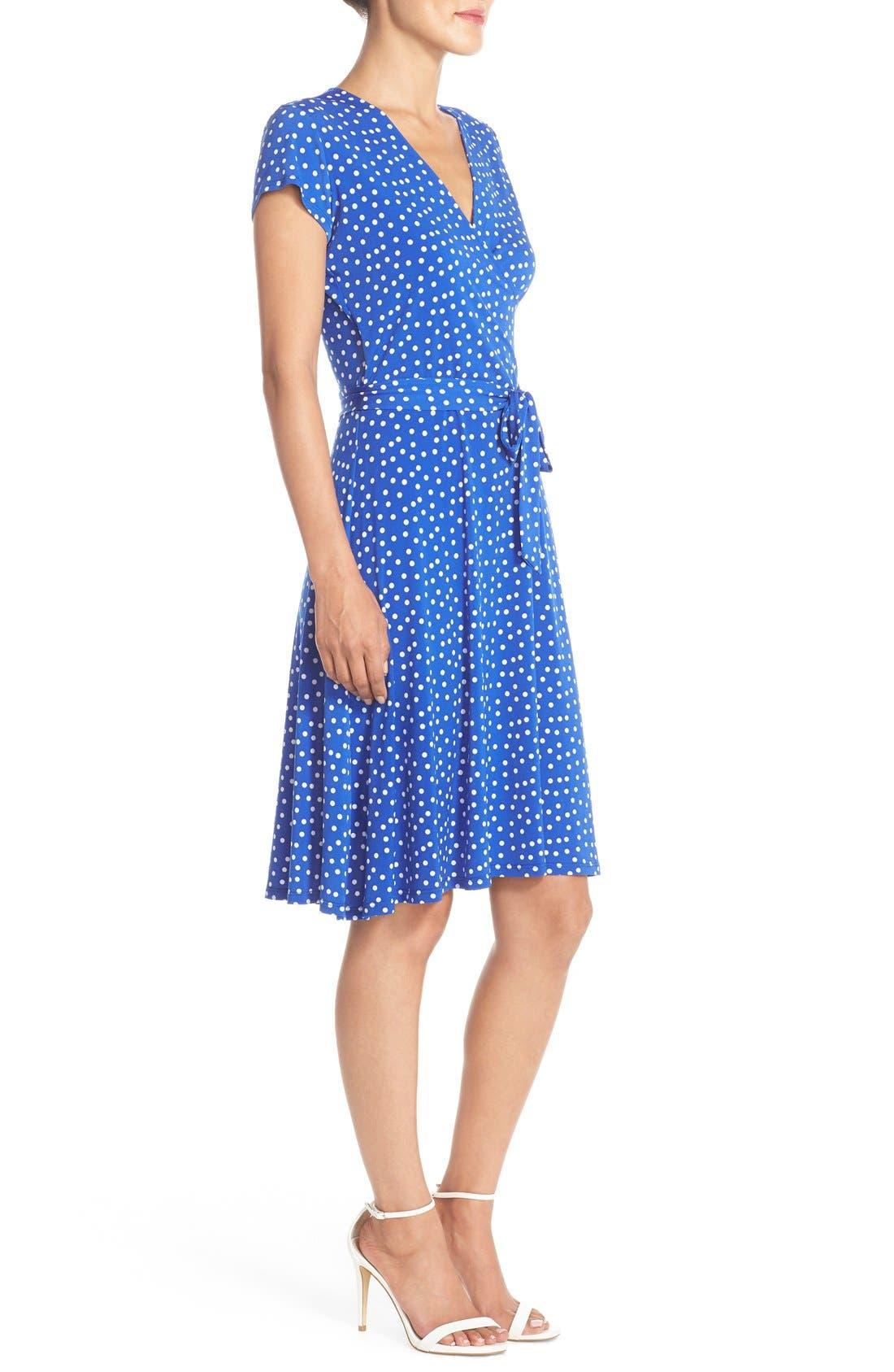 Alternate Image 3  - Leota 'Perfect' Faux Wrap Polka Dot Jersey Dress