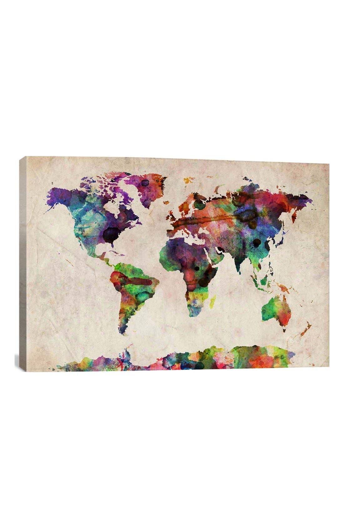 'World Map Urban - Michael Thompsett' Giclée Print Canvas Art,                         Main,                         color, Beige