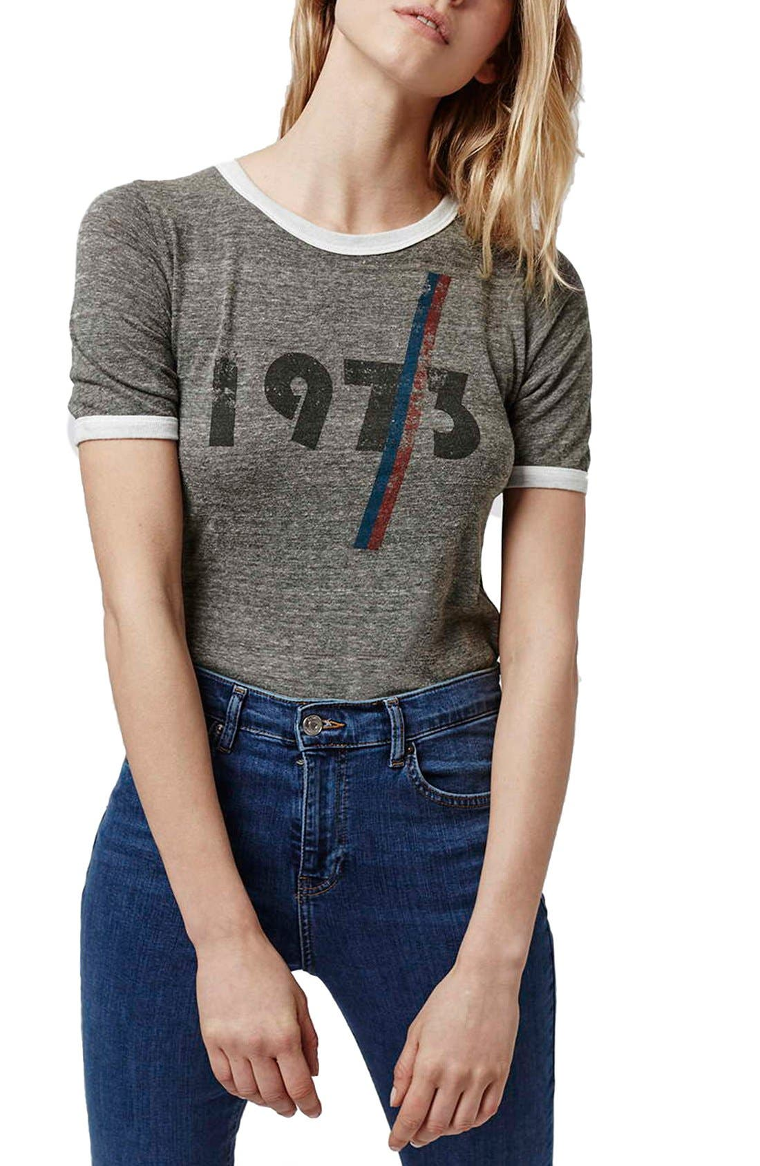 Alternate Image 1 Selected - Topshop '1973' Ringer Tee