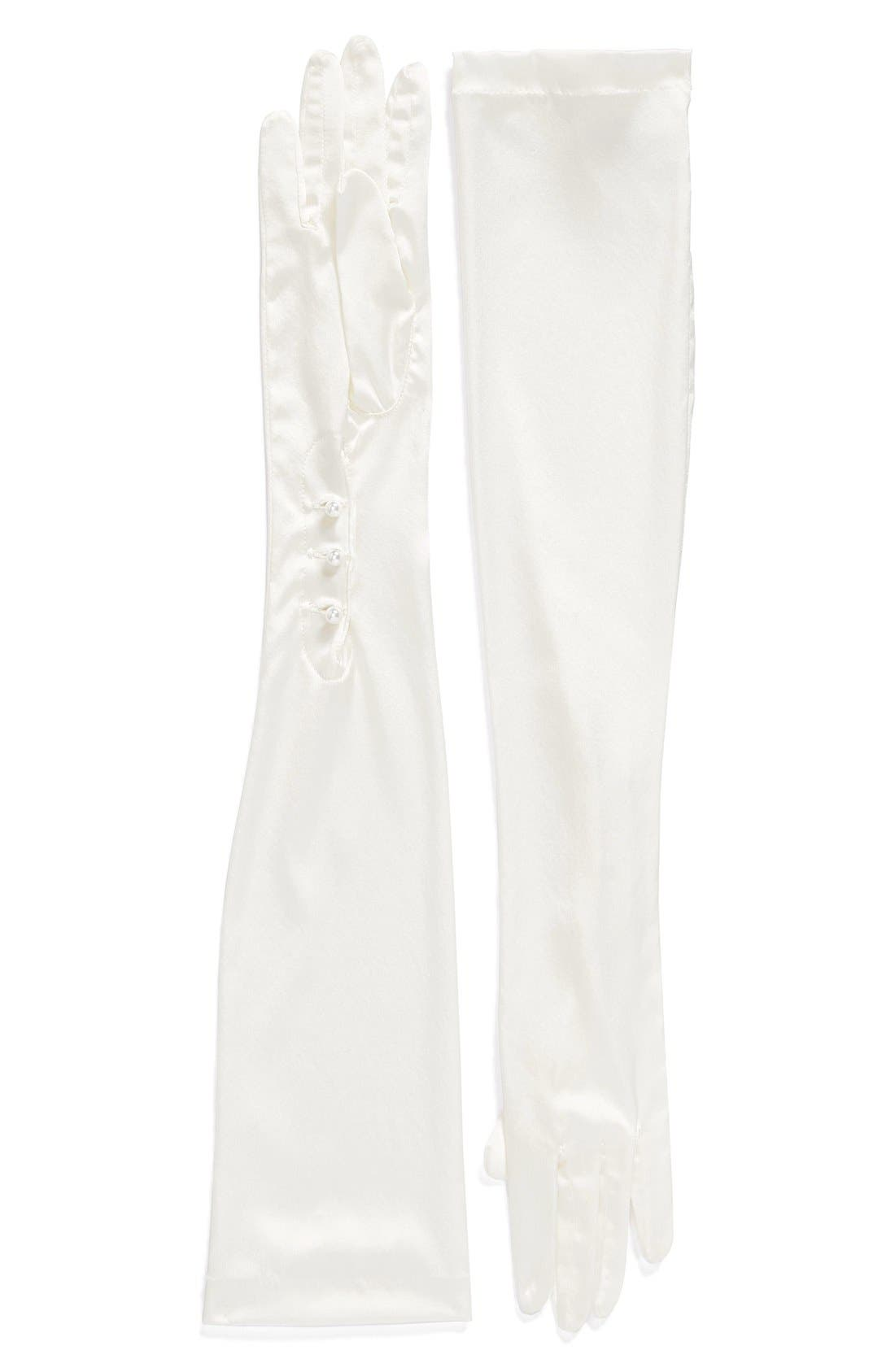 Main Image - CAROLINA AMATO Opera Length Mousquetaire Stretch Silk Gloves