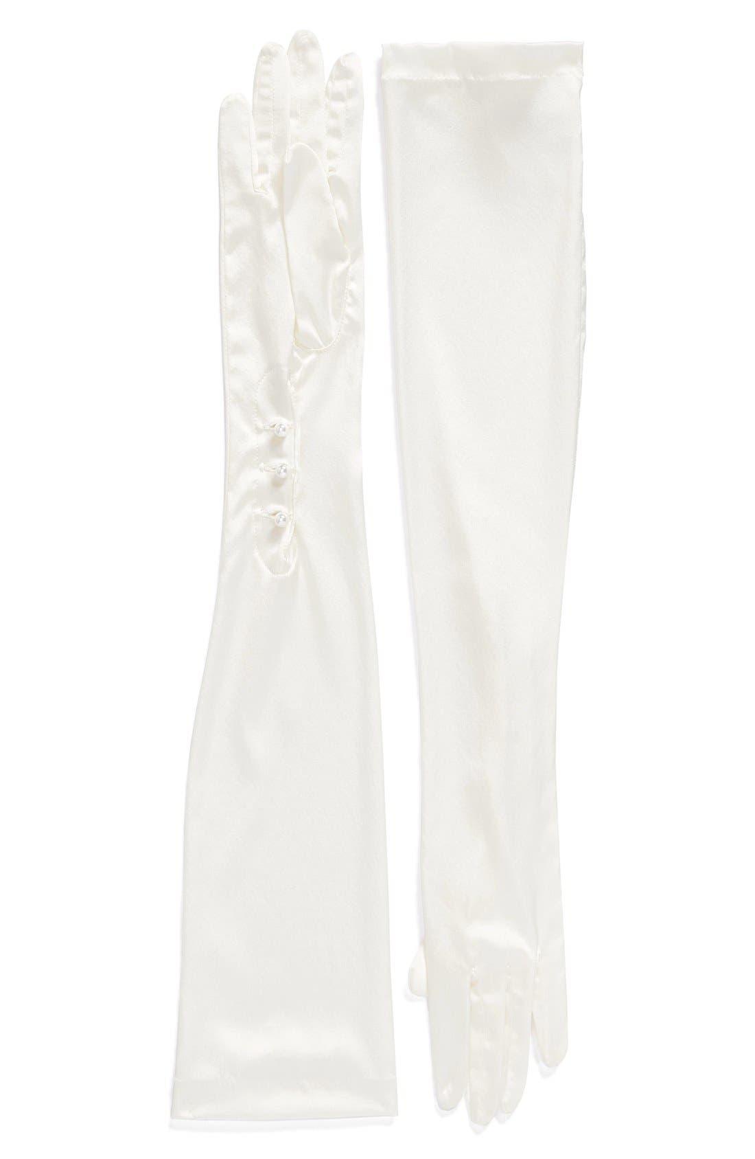 CAROLINA AMATO Opera Length Mousquetaire Stretch Silk Gloves