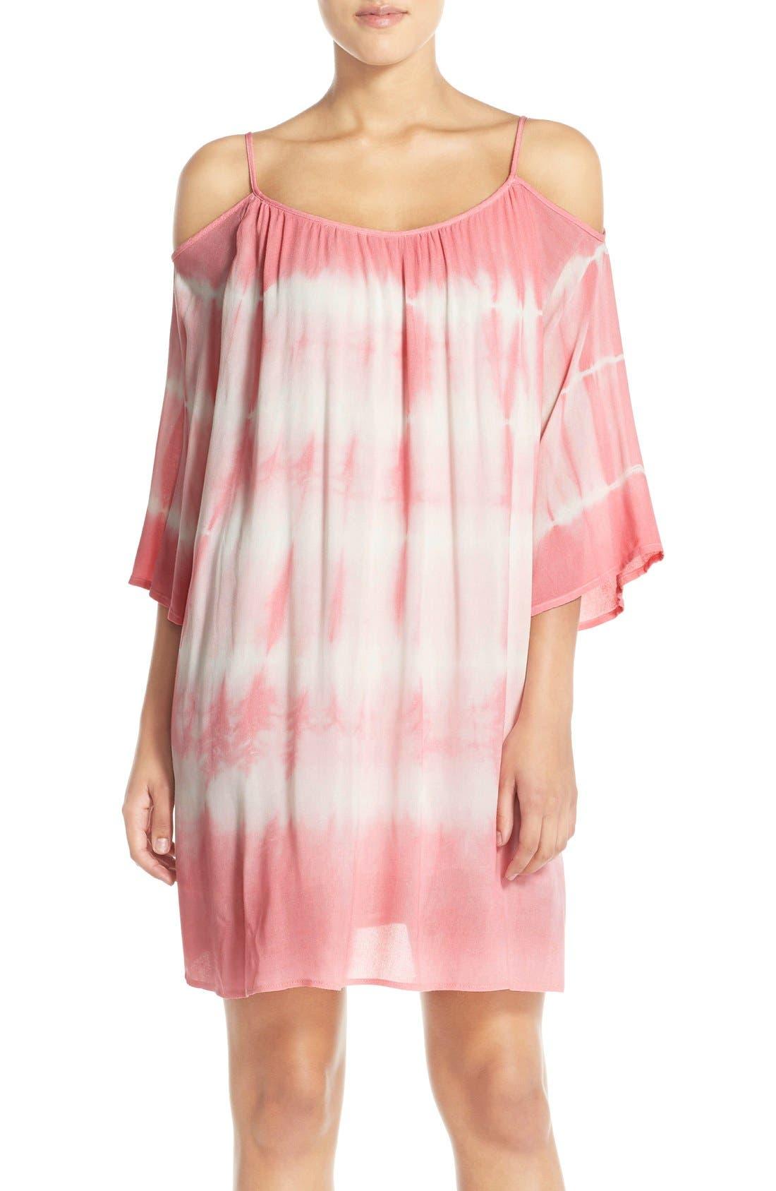 Tie Dye Crepe Cold Shoulder Dress,                         Main,                         color, Pink Tie-Dye