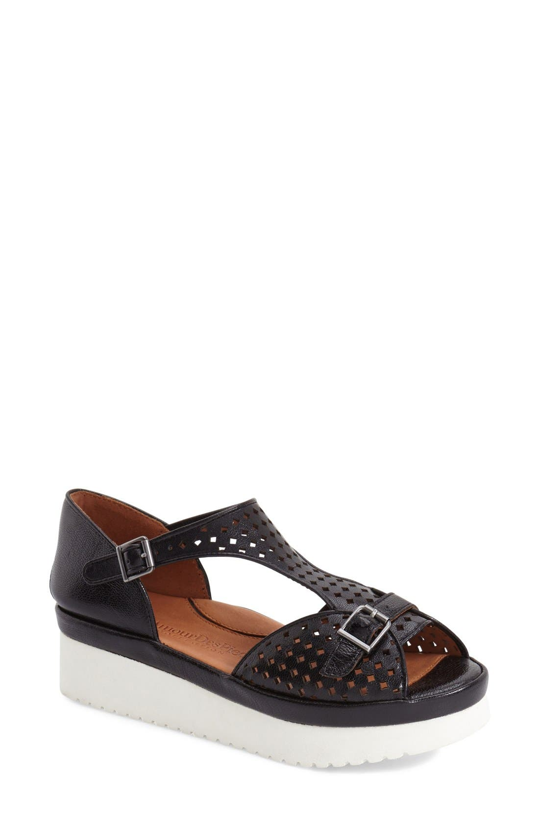 'Audric' Platform T-Strap Sandal,                         Main,                         color, Black/ White Leather